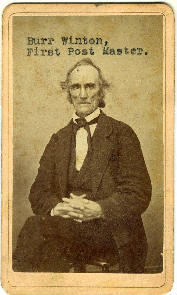 Burr Winton served as Aurora's first postmaster from 1837 to 1847.