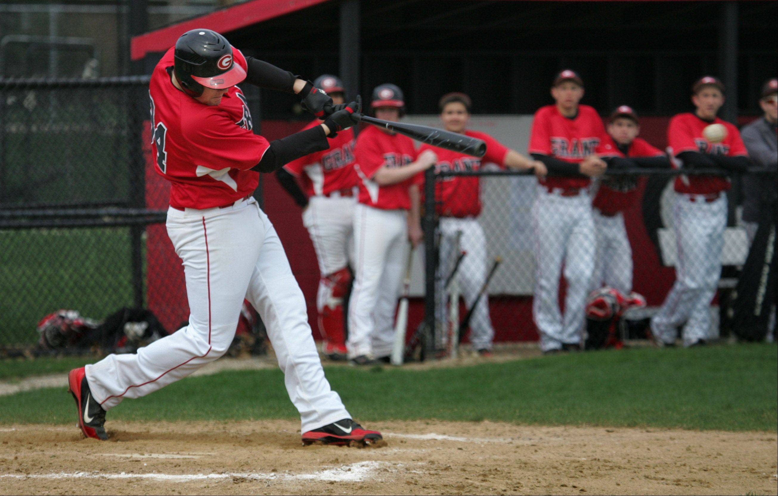 Grant's Brent Spohr gets a hit in the second inning Tuesday against visiting West Chicago.