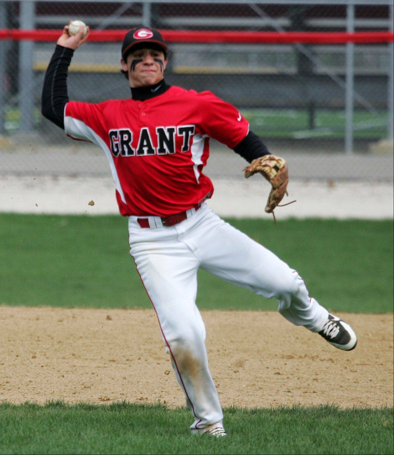 Grant shortstop Jordan Villarreal makes a throw to first base for an out against visiting West Chicago on Tuesday.