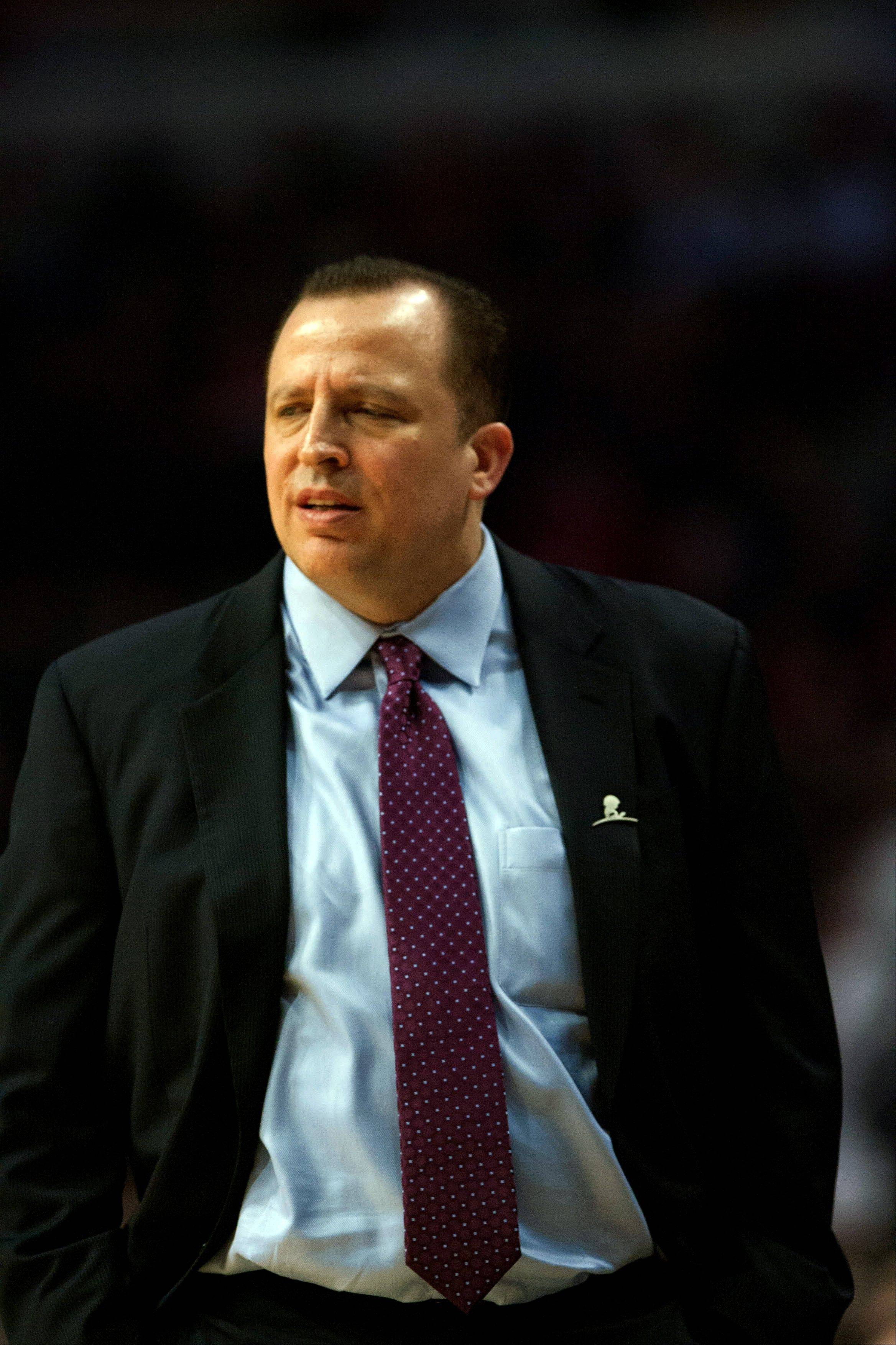 Bulls coach Tom Thibodeau watches the Nuggets run away with a 108-91 victory Monday night at the United Center.