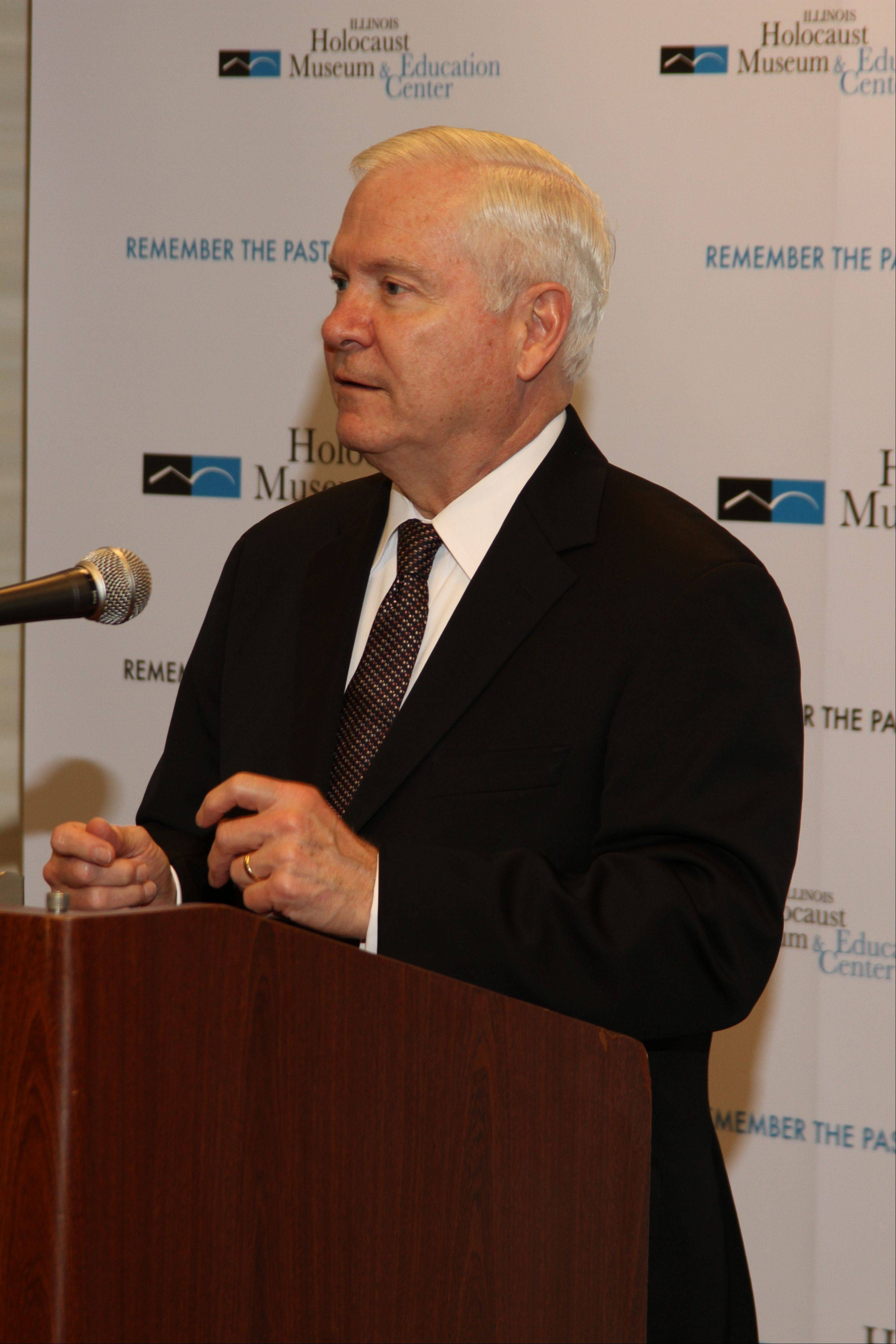 U.S. Secretary of Defense (2006-2011) Robert Gates speaks to the media prior to the Illinois Holocaust Museum & Education Center's Humanitarian Awards Dinner March 6 at the Hyatt Regency Chicago.