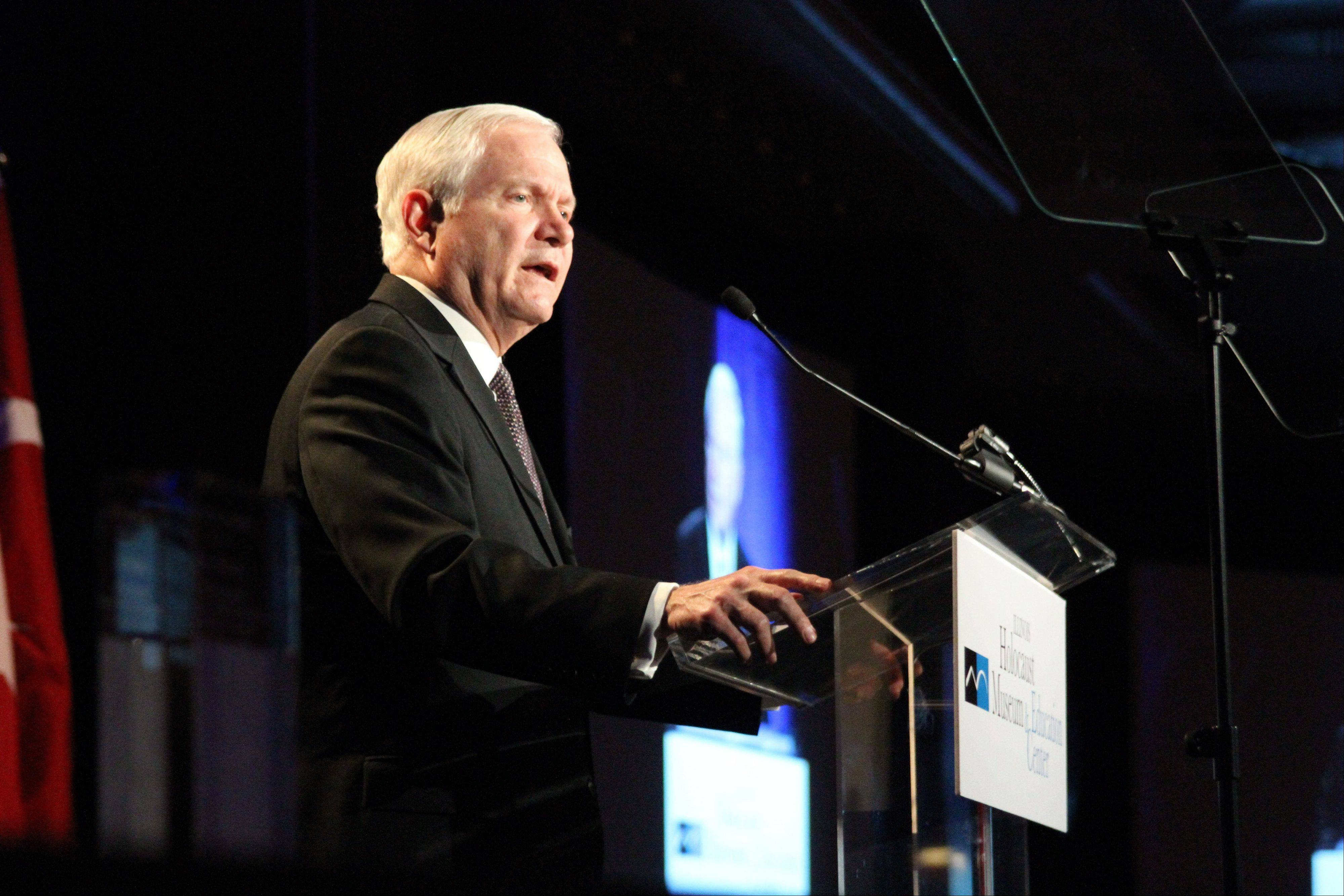 U.S. Secretary of Defense (2006-2011) Robert Gates speaks to more than 1,500 of Chicago's civic and business leaders, elected officials and Holocaust survivors at the Illinois Holocaust Museum & Education Center's Humanitarian Awards Dinner March 6 at the Hyatt Regency Chicago.