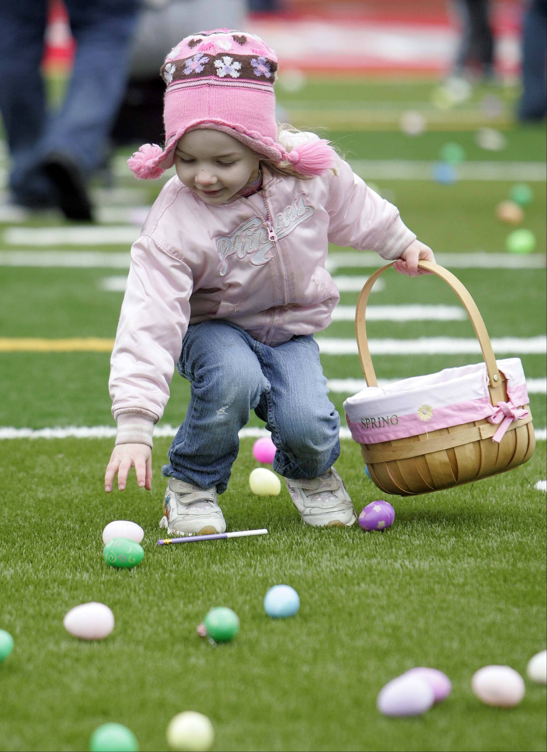 Three-year-old Abbey Hauser of North Aurora scavenges for eggs during last year's egg hunt at Mooseheart.