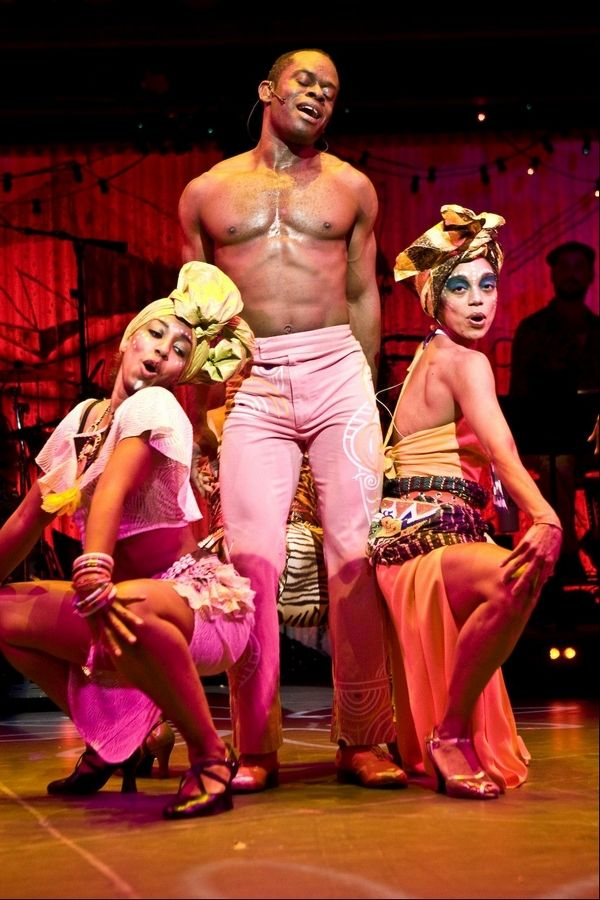 "Catherine Foster, Sahr Ngaujah and Nicole de Weever in ""Fela!"" The national tour of the Broadway musical celebrating the life of the Nigerian Afrobeat musician and activist plays Chicago's Oriental Theatre through Sunday, April 15."