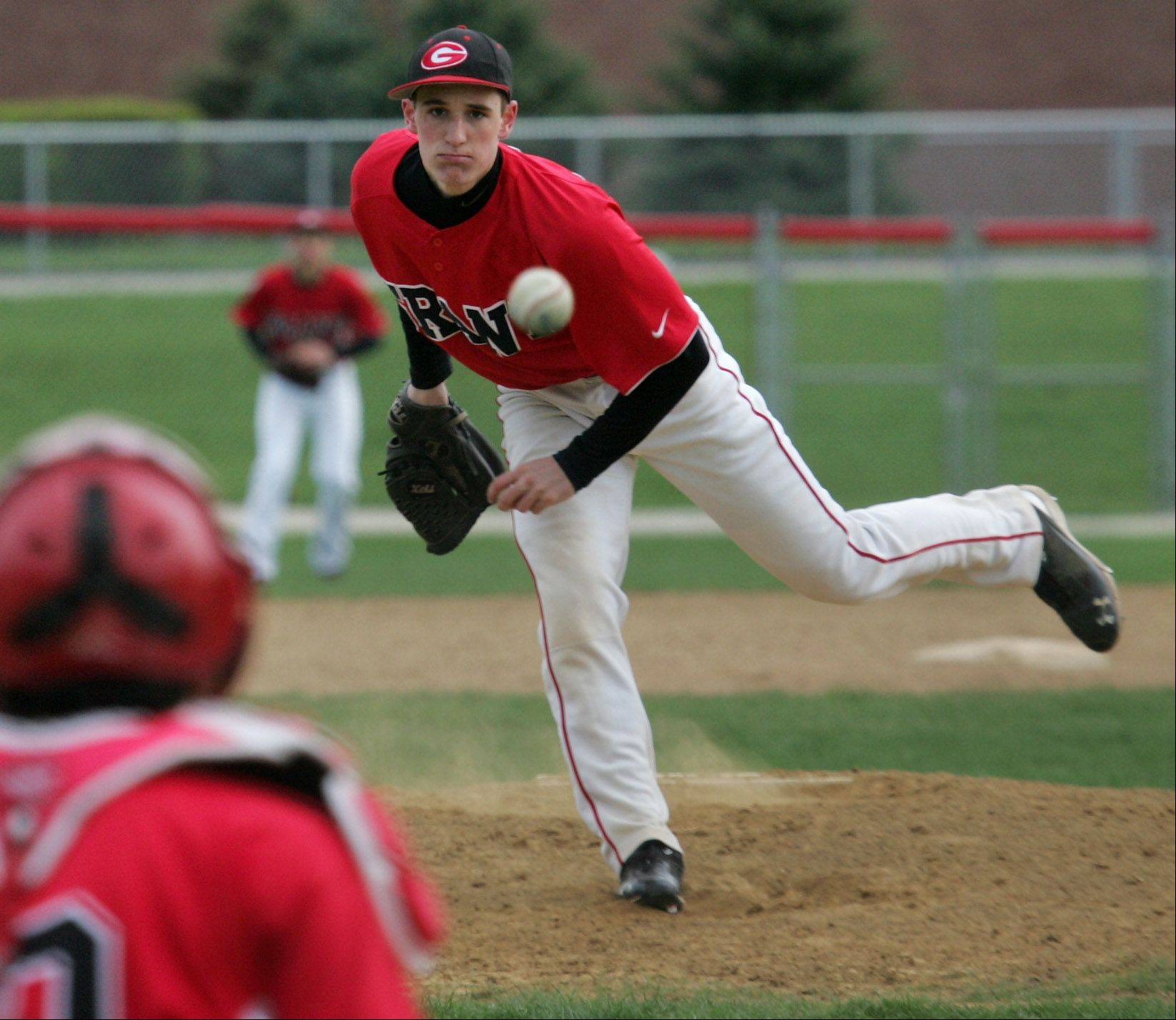 Grant pitcher Jake Ring during the boys high school baseball game between West Chicago and Grant Tuesday at Grant HIgh School.