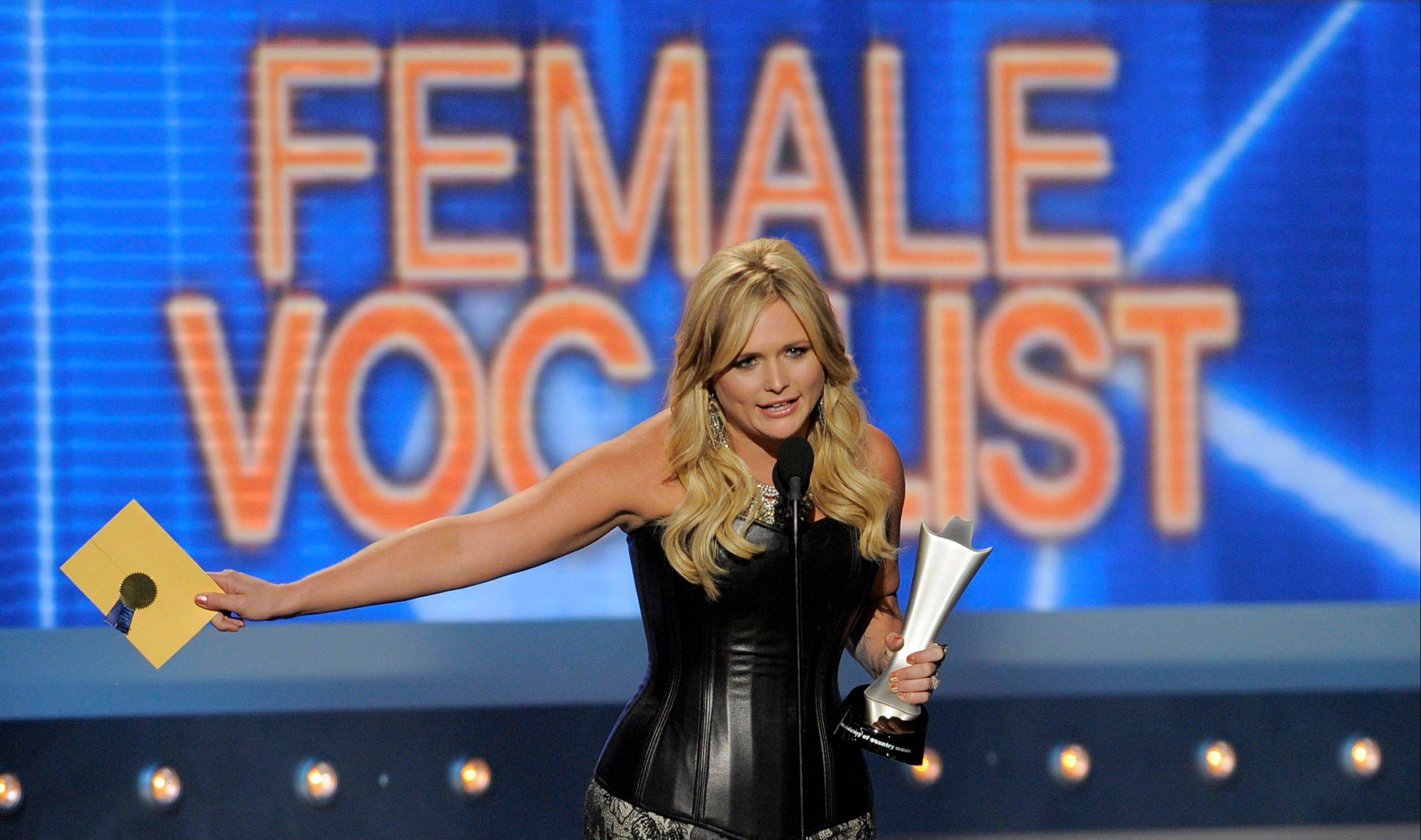 Miranda Lambert accepts the award for female vocalist of the year. Lambert also won album of the year.