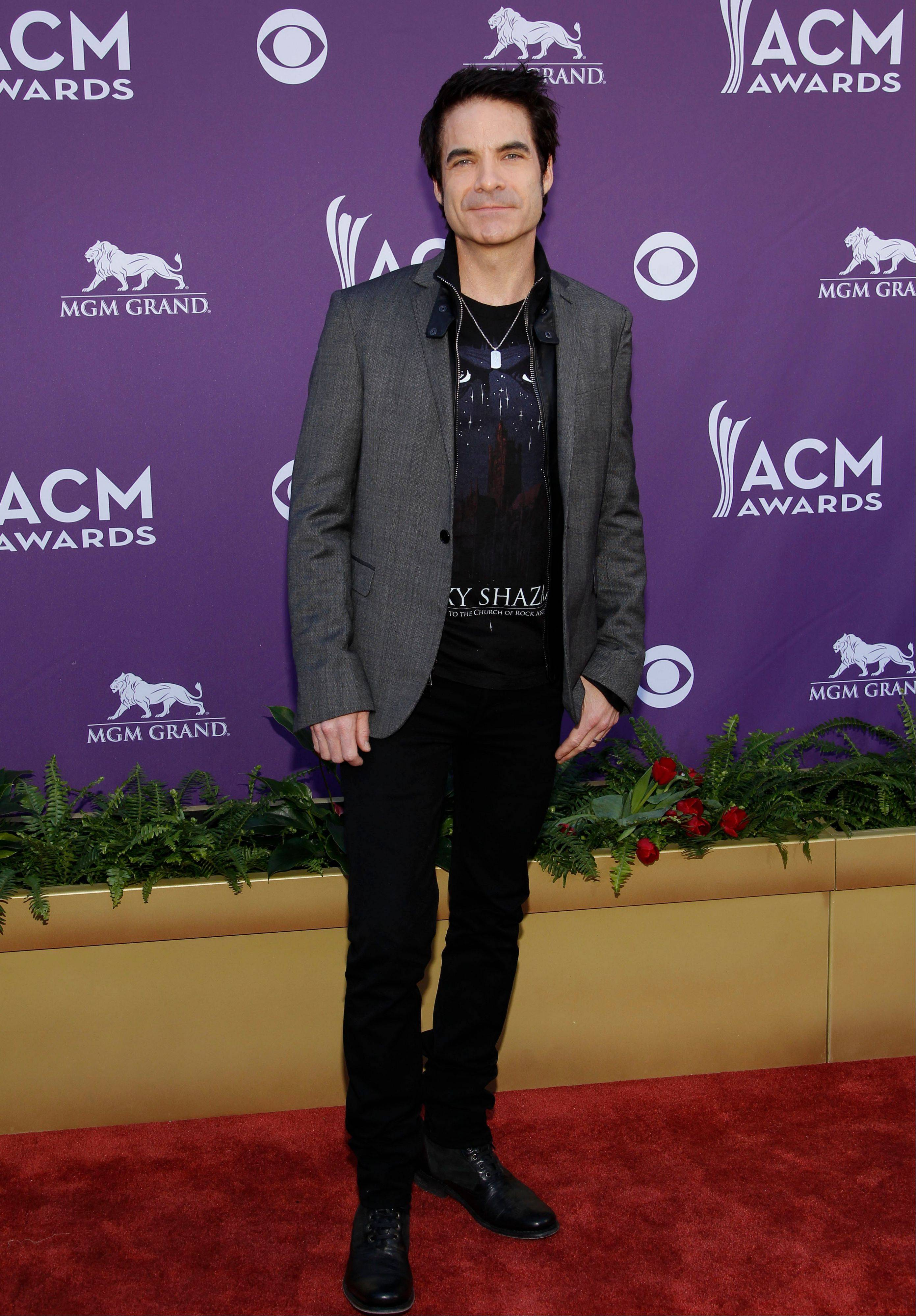 Train lead singer Pat Monahan arrives at the 47th Annual Academy of Country Music Awards on Sunday in Las Vegas.