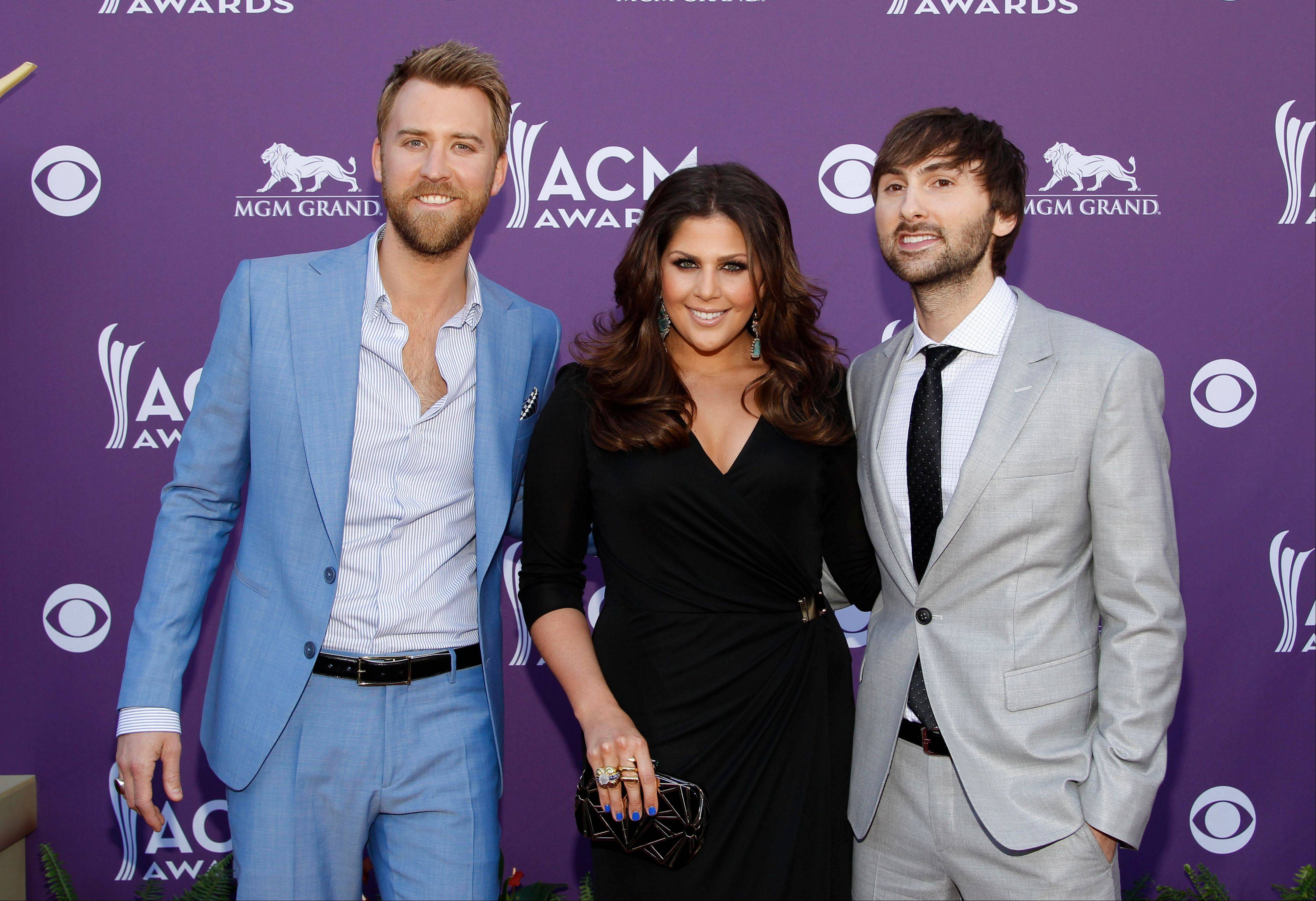 From left, Charles Kelley, Hillary Scott and Dave Haywood, of musical group Lady Antebellum, were up for Vocal Group of the Year.