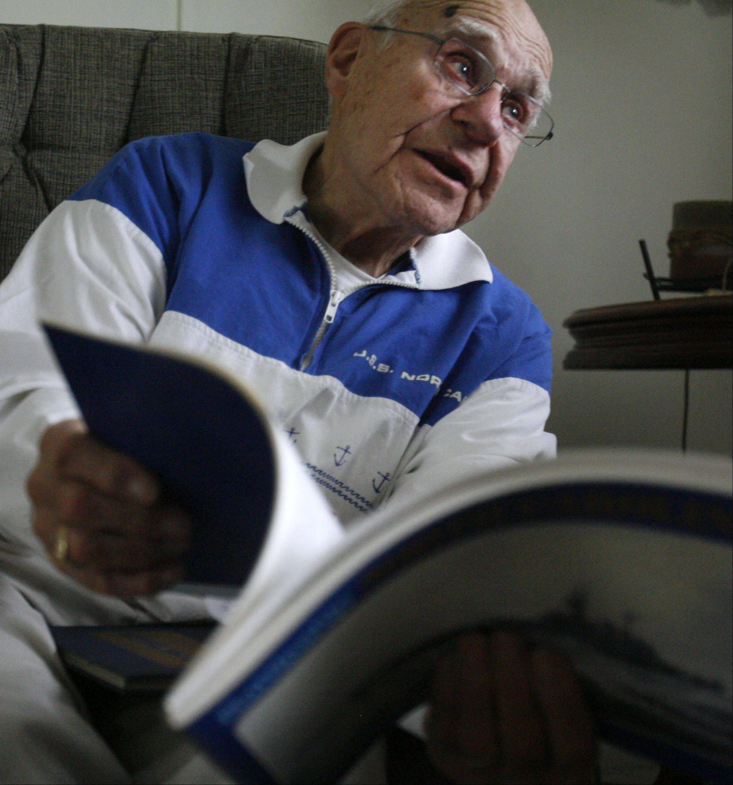 Lake Zurich Navy veteran Robert Wallace talks about serving on the battleship USS North Carolina during World War II.