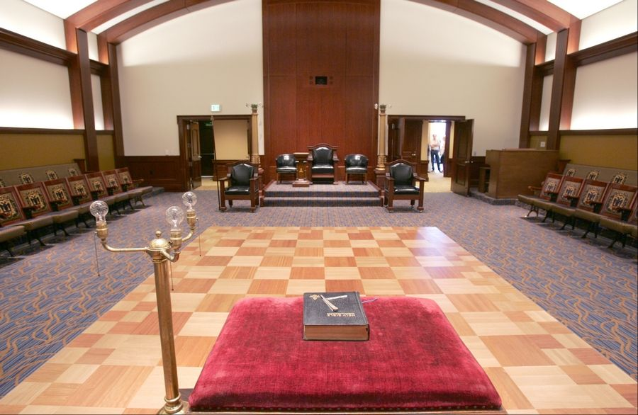 The Masonic Lodge room is one of several meeting spaces within the Scottish Rite Valley of Chicago's new $20 million building in Bloomingdale.