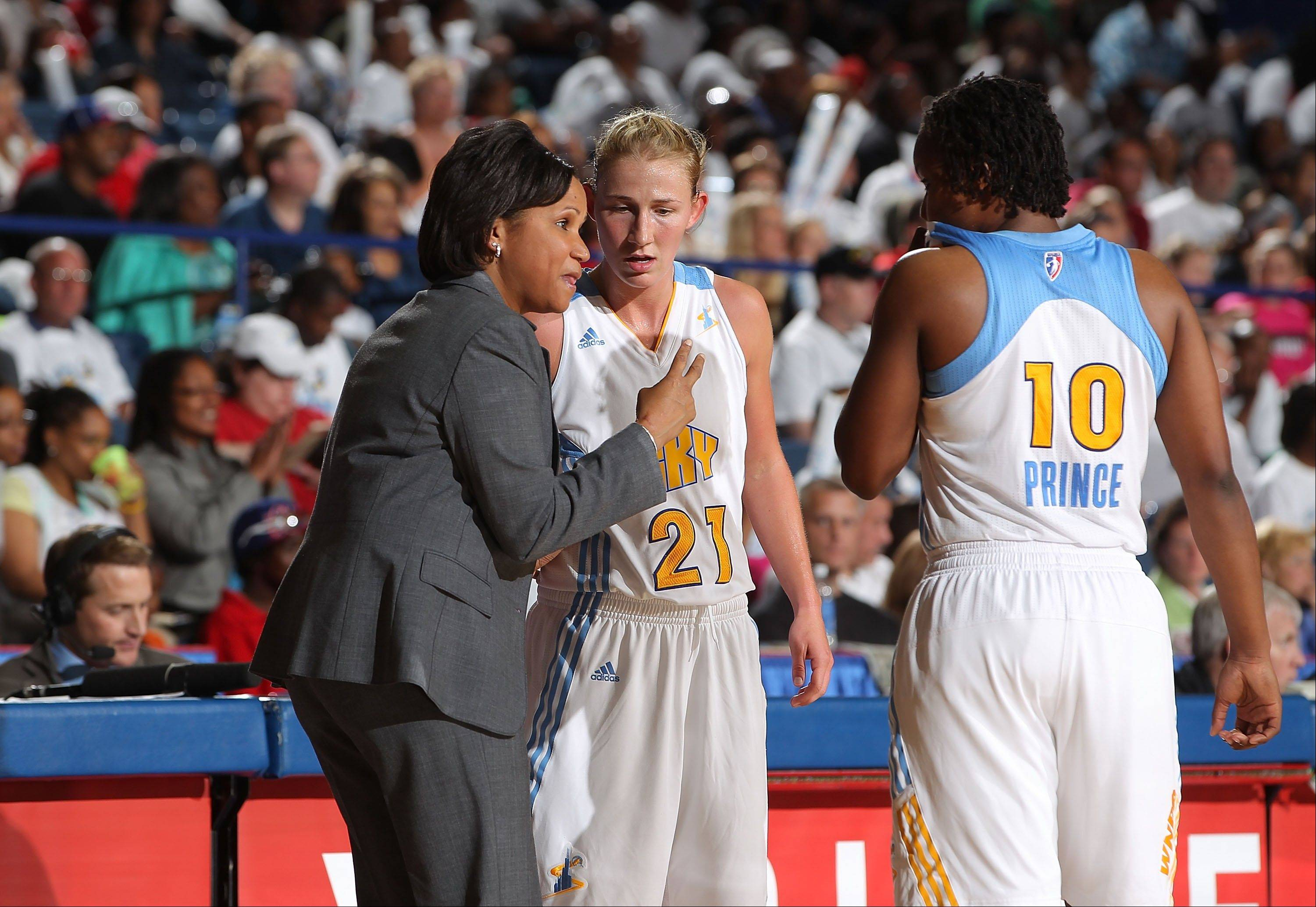 Head coach Pokey Chatman and Chicago Sky players Courtney Vandersloot (21) and Epiphany Prince (10) will open their WNBA preseason slate with a game against the Washington Mystics at New Trier High School in Winnetka.