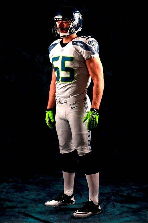 In this undated photo provided by the Seattle Seahawks, the NFL team's new uniform design is shown. The NFL unveiled new uniforms designed by Nike for all 32 teams Tuesday, April 3, 2012, at a New York fashion show.