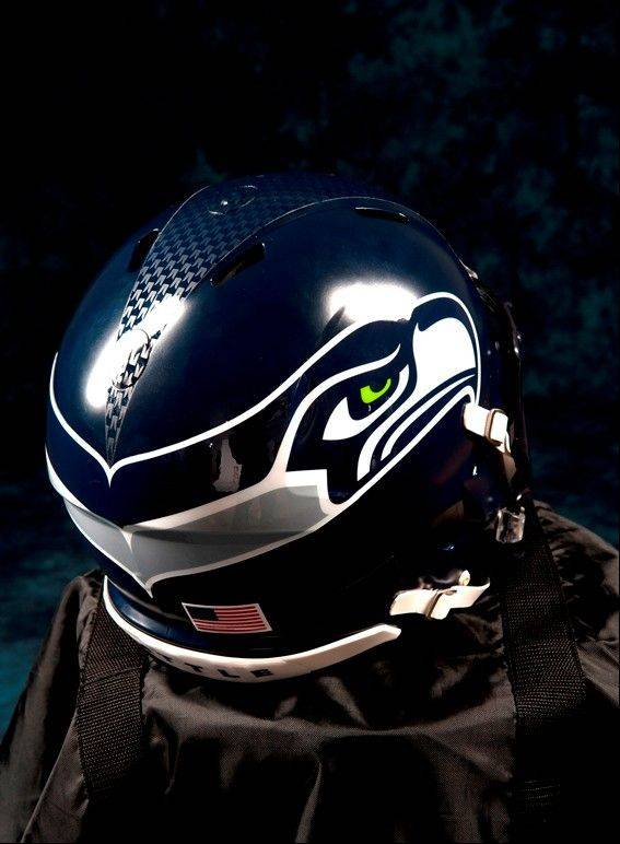 In this undated photo provided by the Seattle Seahawks, the NFL team's new helmet design is shown. The NFL unveiled new uniforms designed by Nike for all 32 teams Tuesday, April 3, 2012, at a New York fashion show.