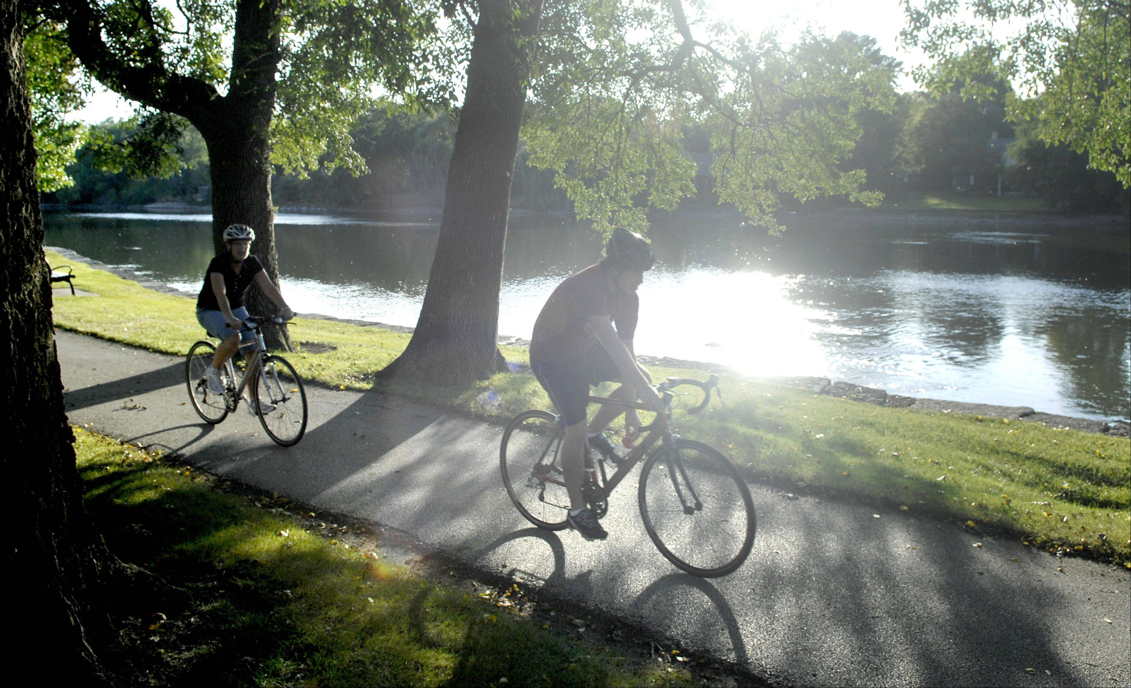 The bike path through Geneva's Island Park is one of the many fitness options keeping Kane County residents among the most healthy in the state.