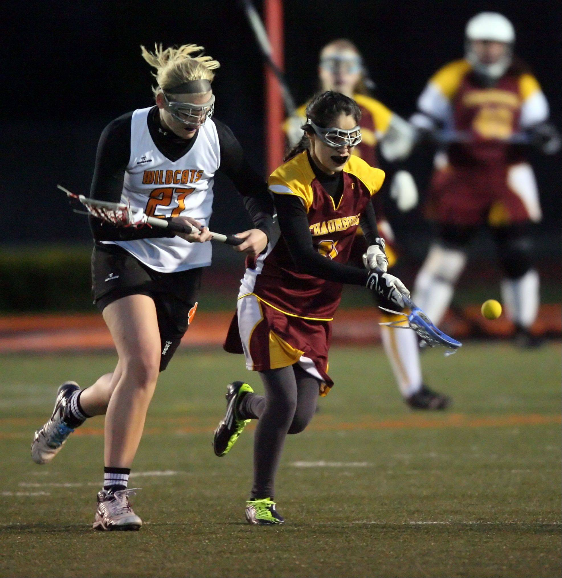 Images from the Libertyville vs. Schaumburg girls lacrosse game on Wednesday, April 4 in Libertyville.