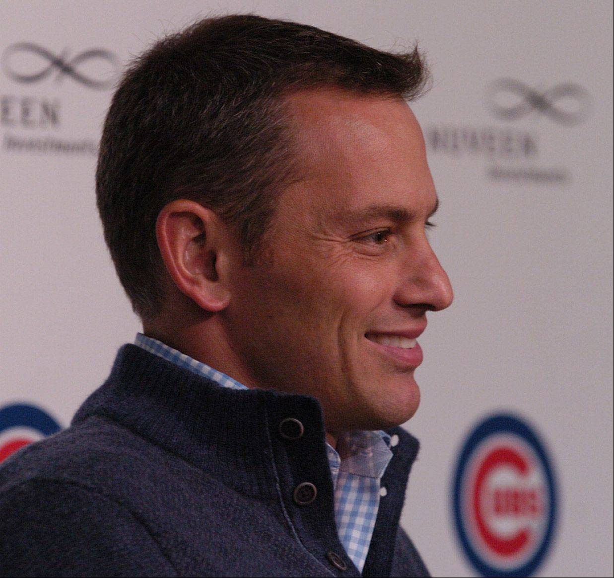 Cubs GM Jed Hoyer talks to the press.