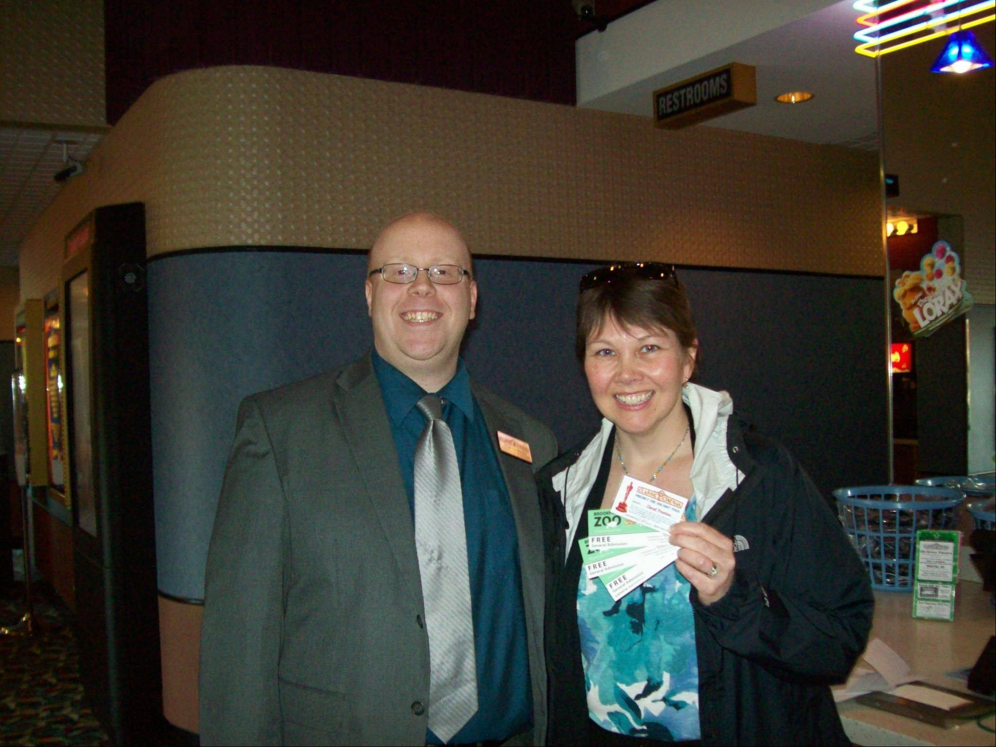 Cheryl Firestone with Elk Grove Theatre manager Tom Habbley.