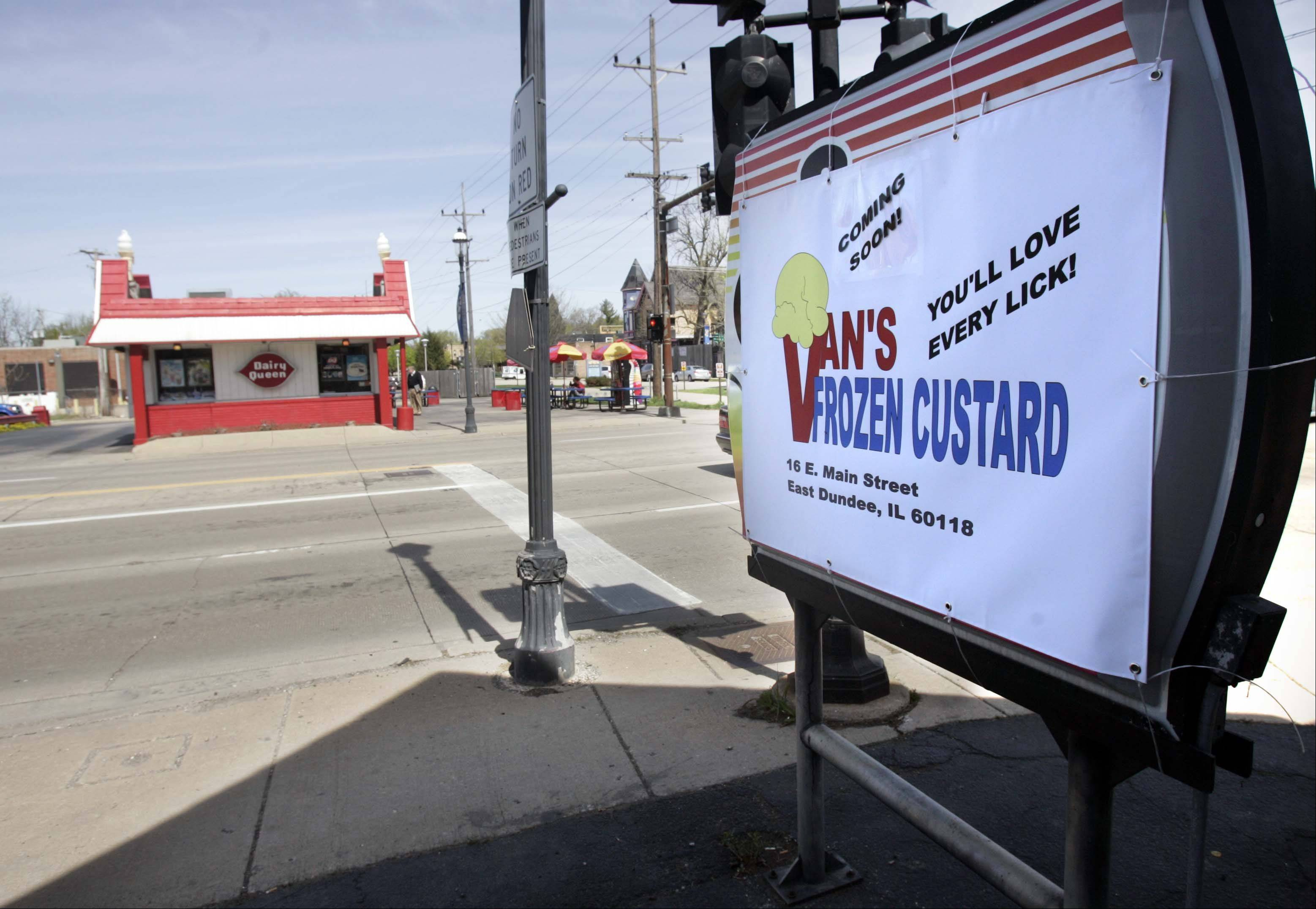 Van's Frozen Custard is moving to East Dundee on Route 72 (Main Street) and River Street, across the street from Dairy Queen. Van's was in Carpentersville for five years, but jumped at the chance to be near the East Dundee bike path.