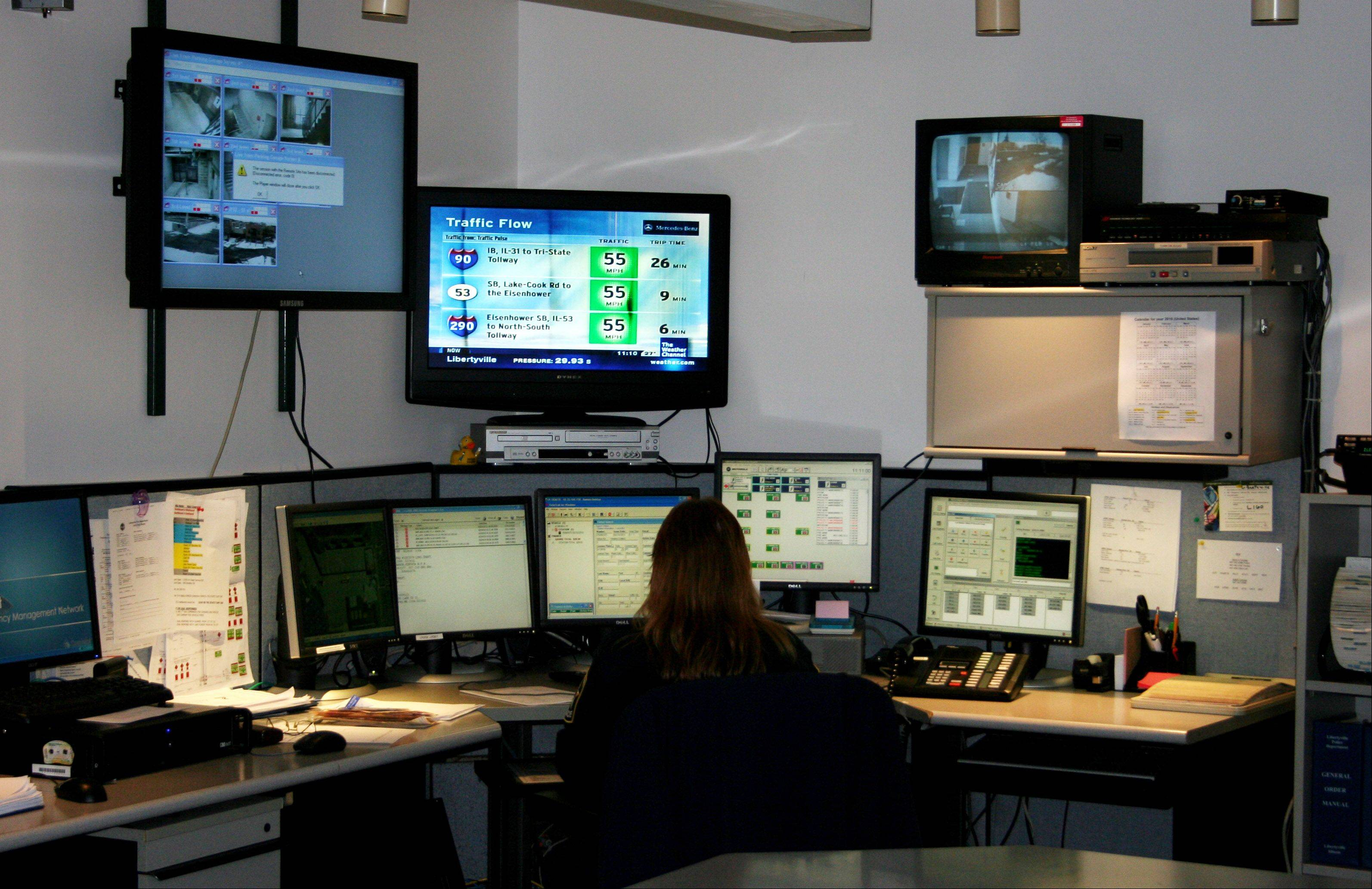 COURTESY PHOTO � The communications room at the Libertyville Police Department.
