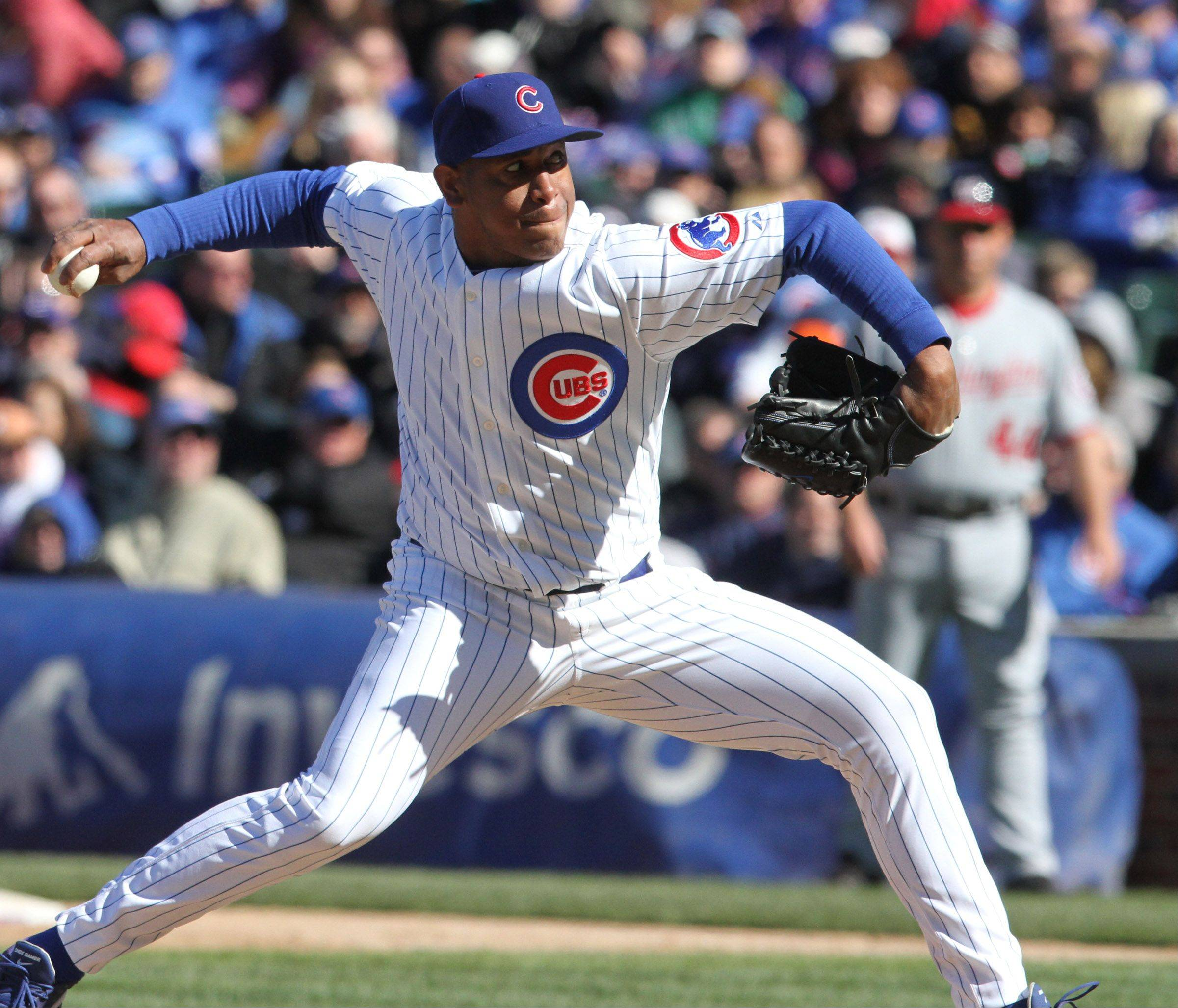 Chicago Cubs closing pitcher Carlos Marmol delivers.