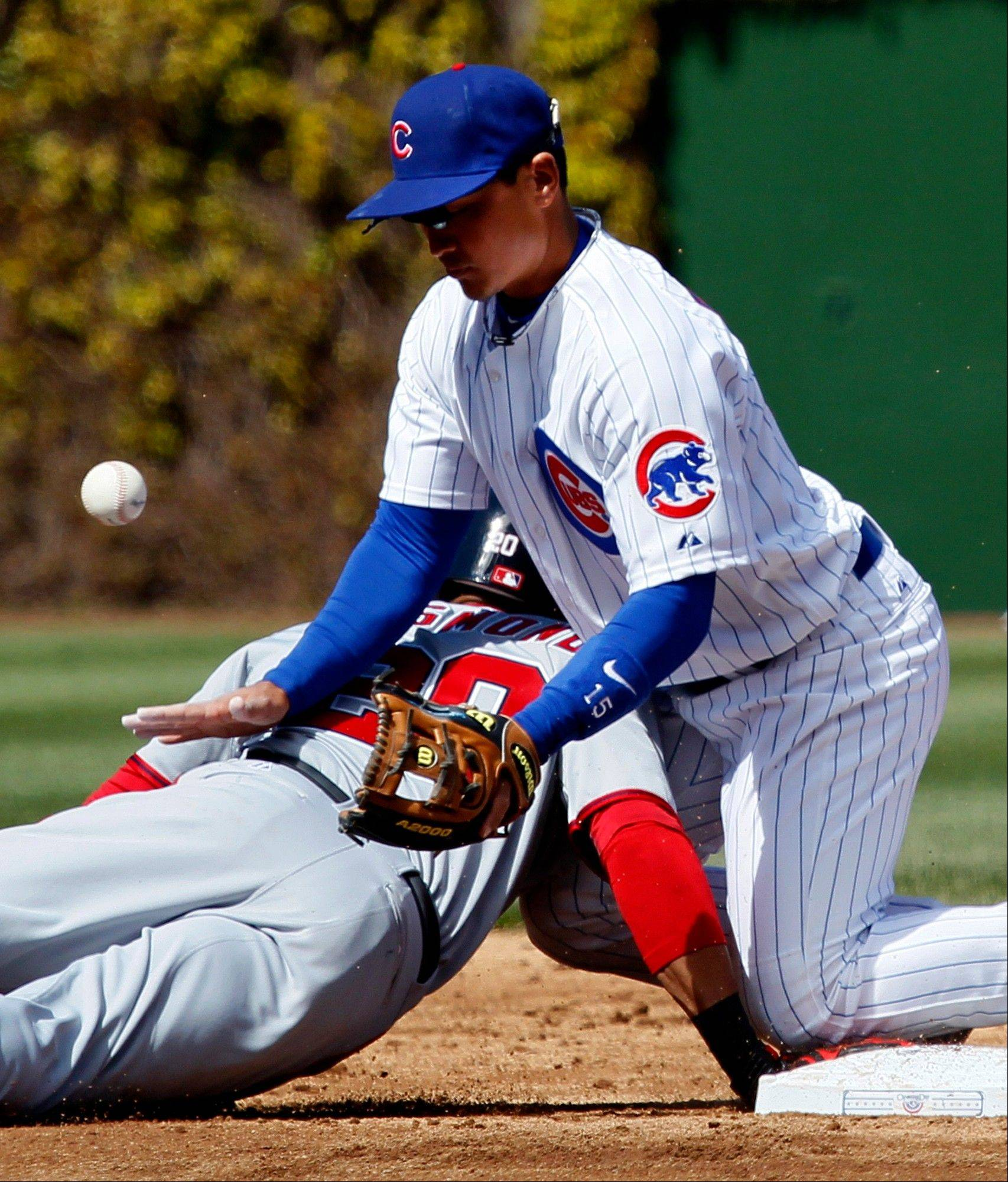 Washington Nationals' Ian Desmond, left, returns safely to second after Chicago Cubs second baseman Darwin Barney was unable to field a pick off attempt throw from pitcher Ryan Dempster during the third inning of an opening day baseball game, Thursday, April 5, 2012, in Chicago.