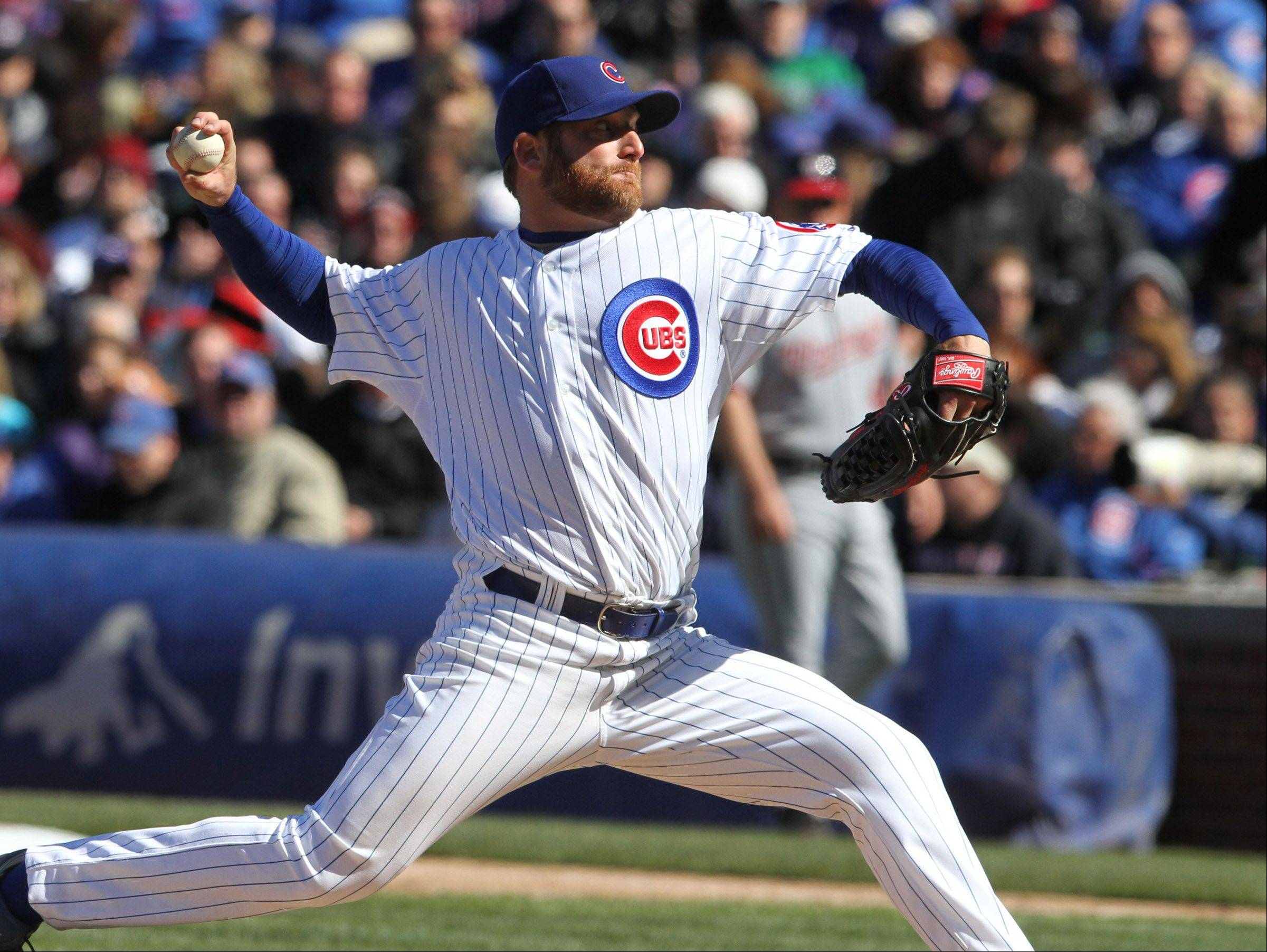 Cubs starting pitcher Ryan Dempster only gave up 2 hits Thursday and struck out 10 but Washington rallied for a 2-1 victory on Opening Day at Wrigley Field.