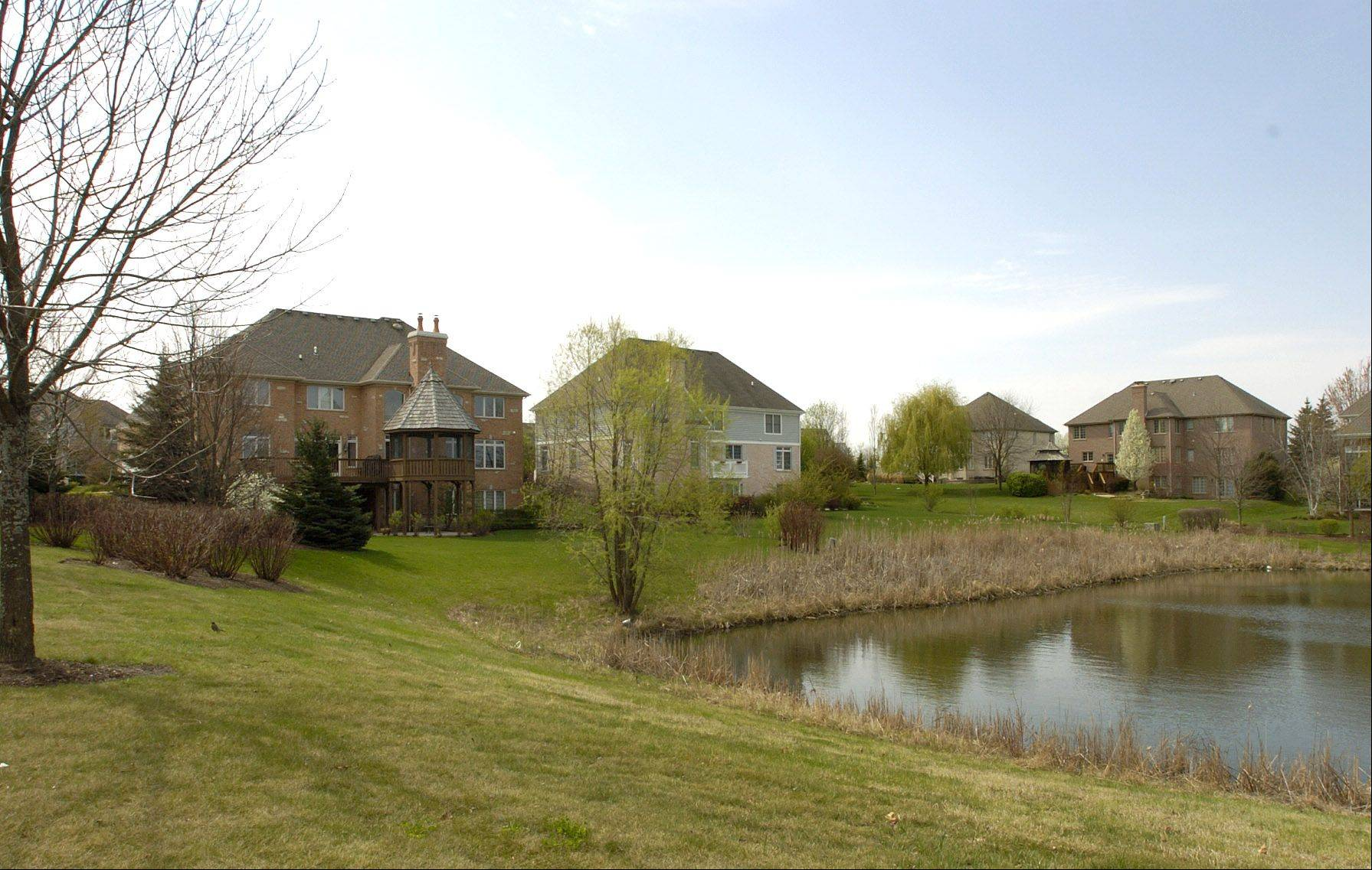 Many of the homes in The Ponds of Kildeer, including these along Meadowlark Drive, back up to ponds, woods or wetlands.