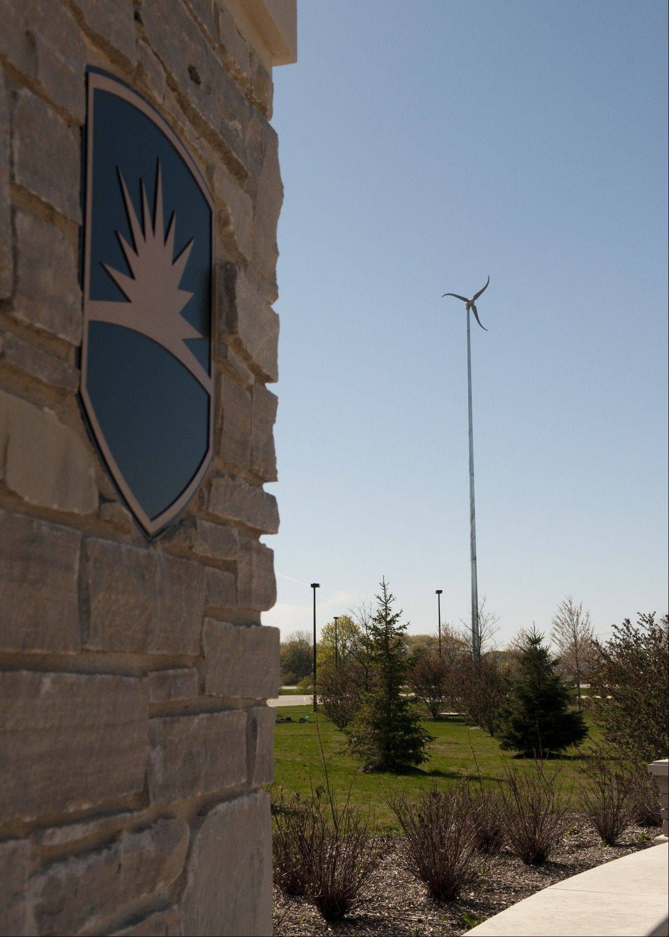 Waubonsee Community College's new wind turbine sits at the northwest corner of the Sugar Grove campus near the Academic and Professional Center. In addition to supplying supplemental electricity to that building, the turbine is also used as a training tool for students in the college's small-wind program.