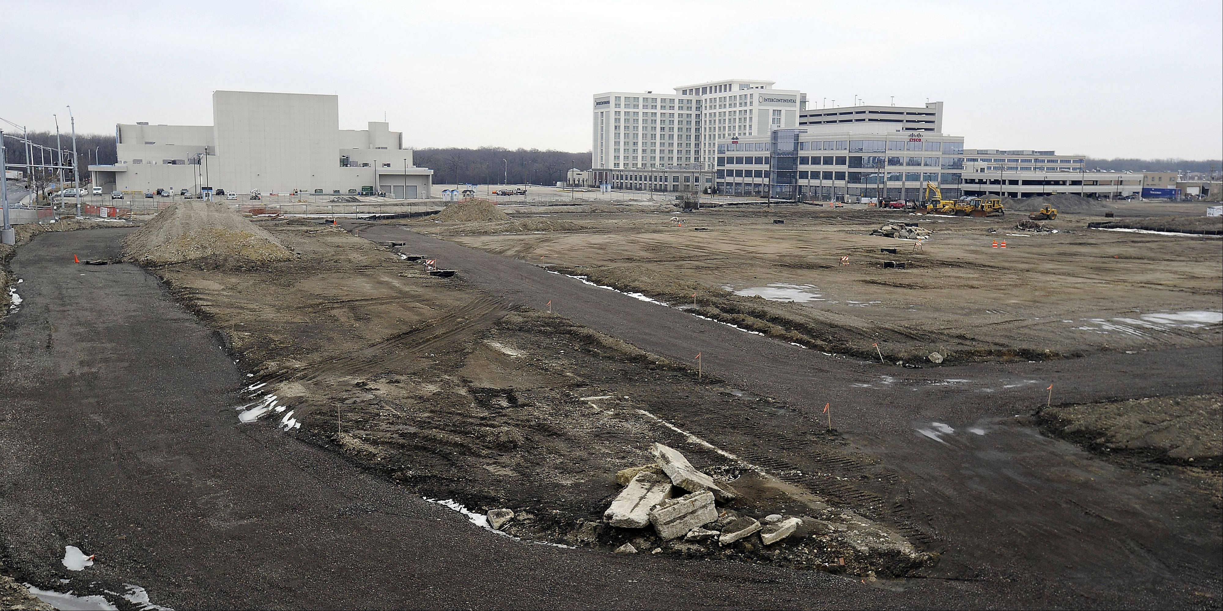 Not much activity was going on in mid-February at Rosemont's outlet mall construction site as heavy machines stand idle off Balmoral Avenue and the Tri-State Tollway.