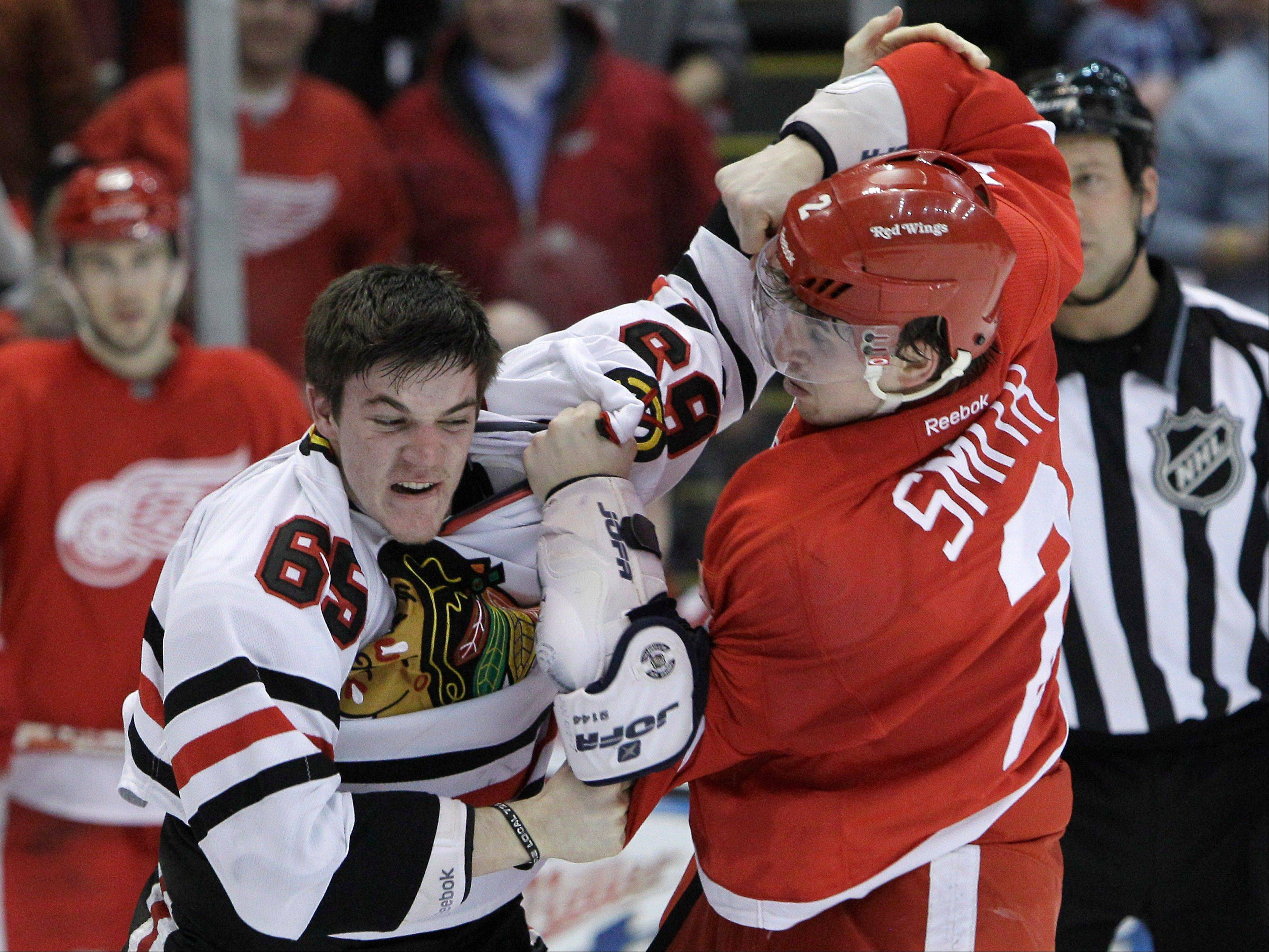 Almost everyone that Andrew Shaw fights in the NHL is much bigger. His opponent this time is Detroit defenseman Brendan Smith. They hooked up during a March 4 game.