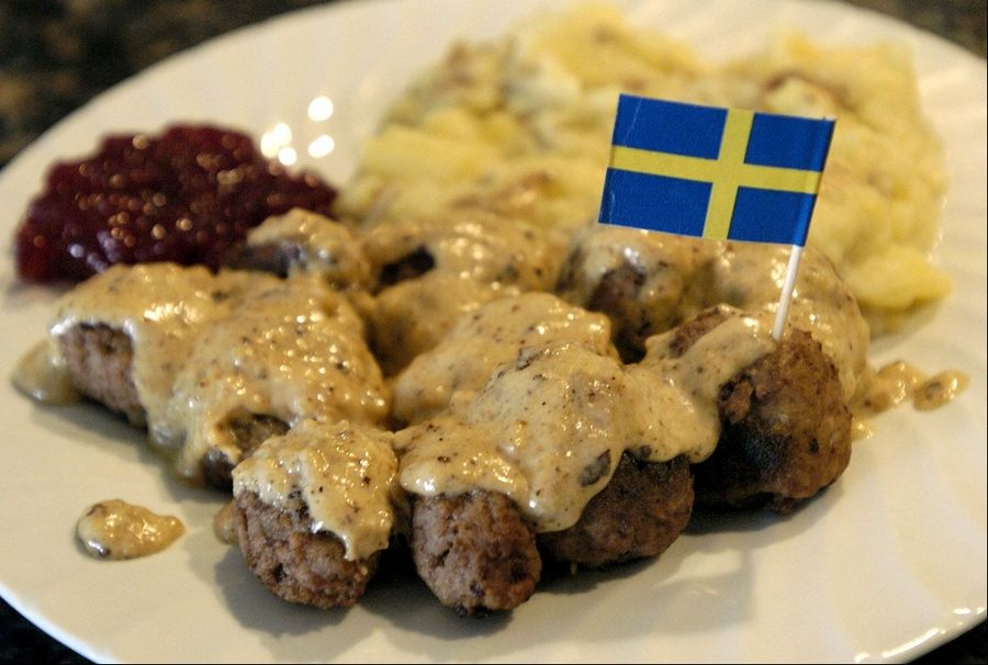 Eddie Lack serves his Swedish meatballs with mash potatoes and lingonberry jam.