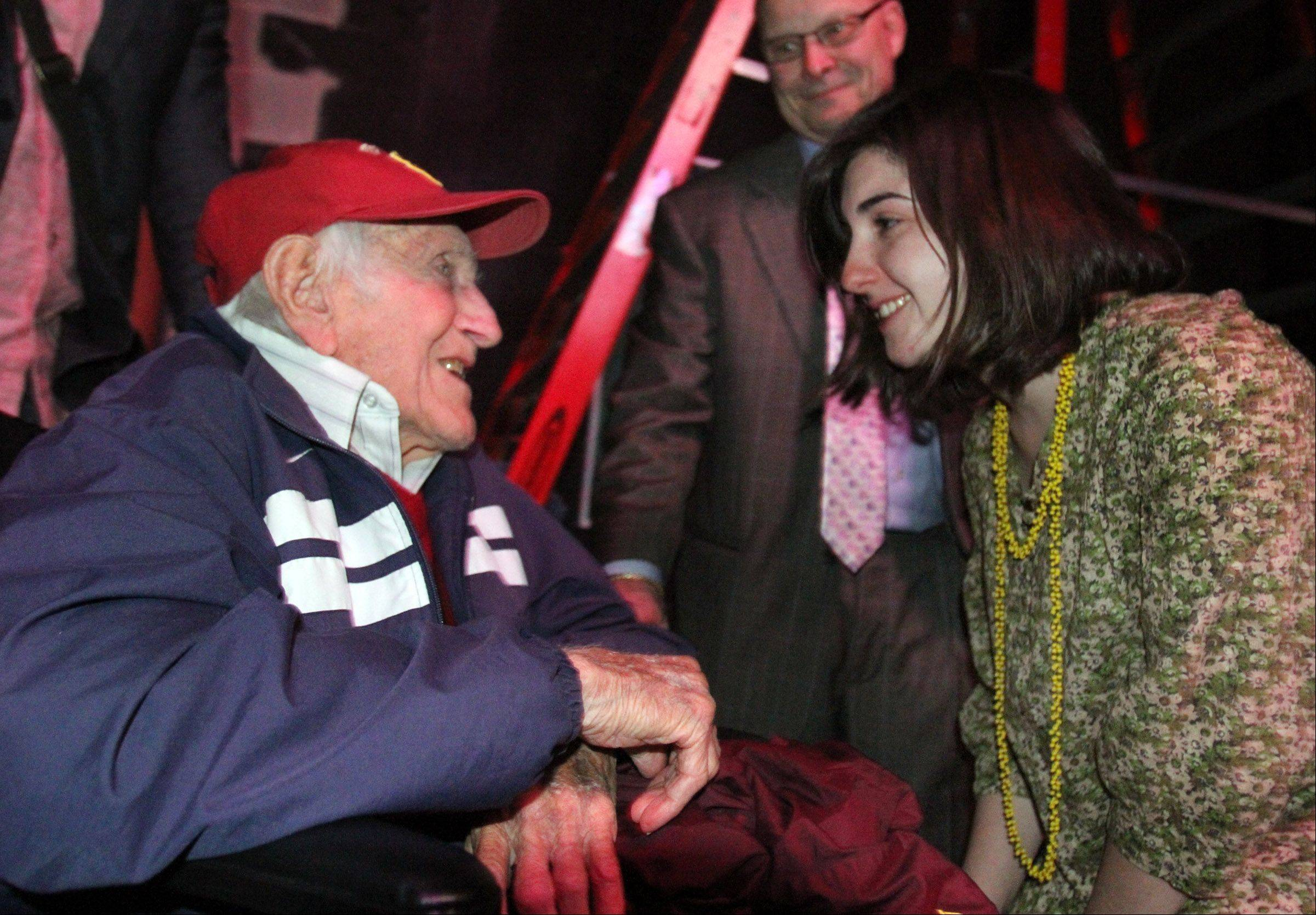 "Barrington High School student Claire Sincox of Barrington told Lou Zamperini, 94, that the best-selling book ""Unbroken"" about his life during and after World War II, was the most inspirational book she has read. Zamperini spoke to students and fellow military veteran at Barrington High School on Tuesday, April 3rd."