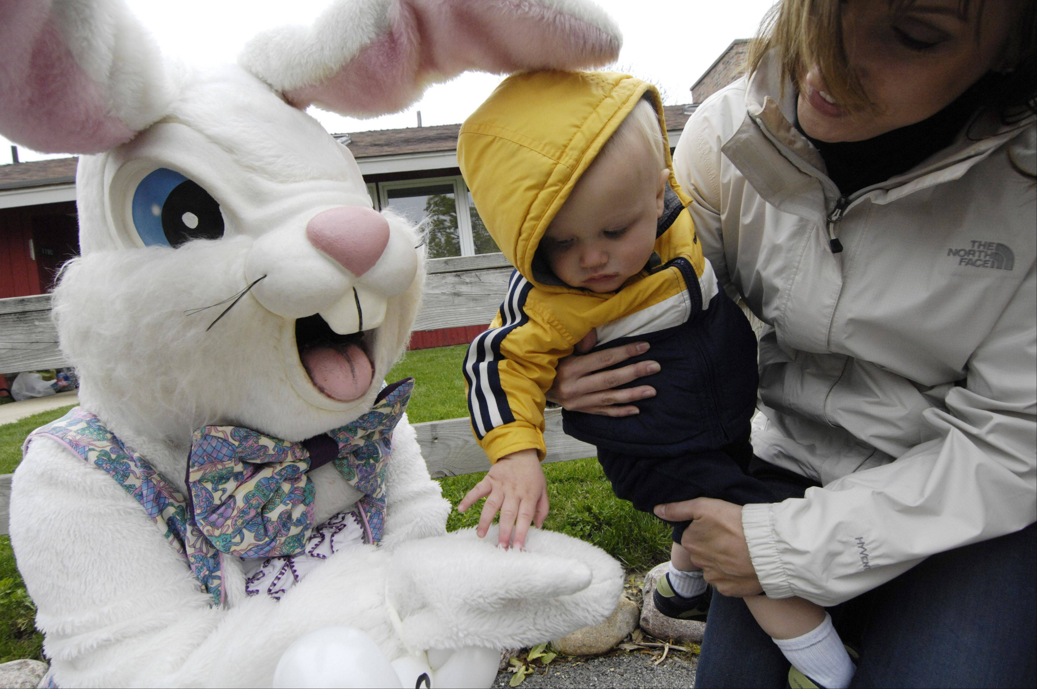 Andrew Gasner, 1, of Huntley, takes a piece of candy from the Easter bunny while being held by his mom, Brittney, at Randall Oaks Park in West Dundee Saturday.
