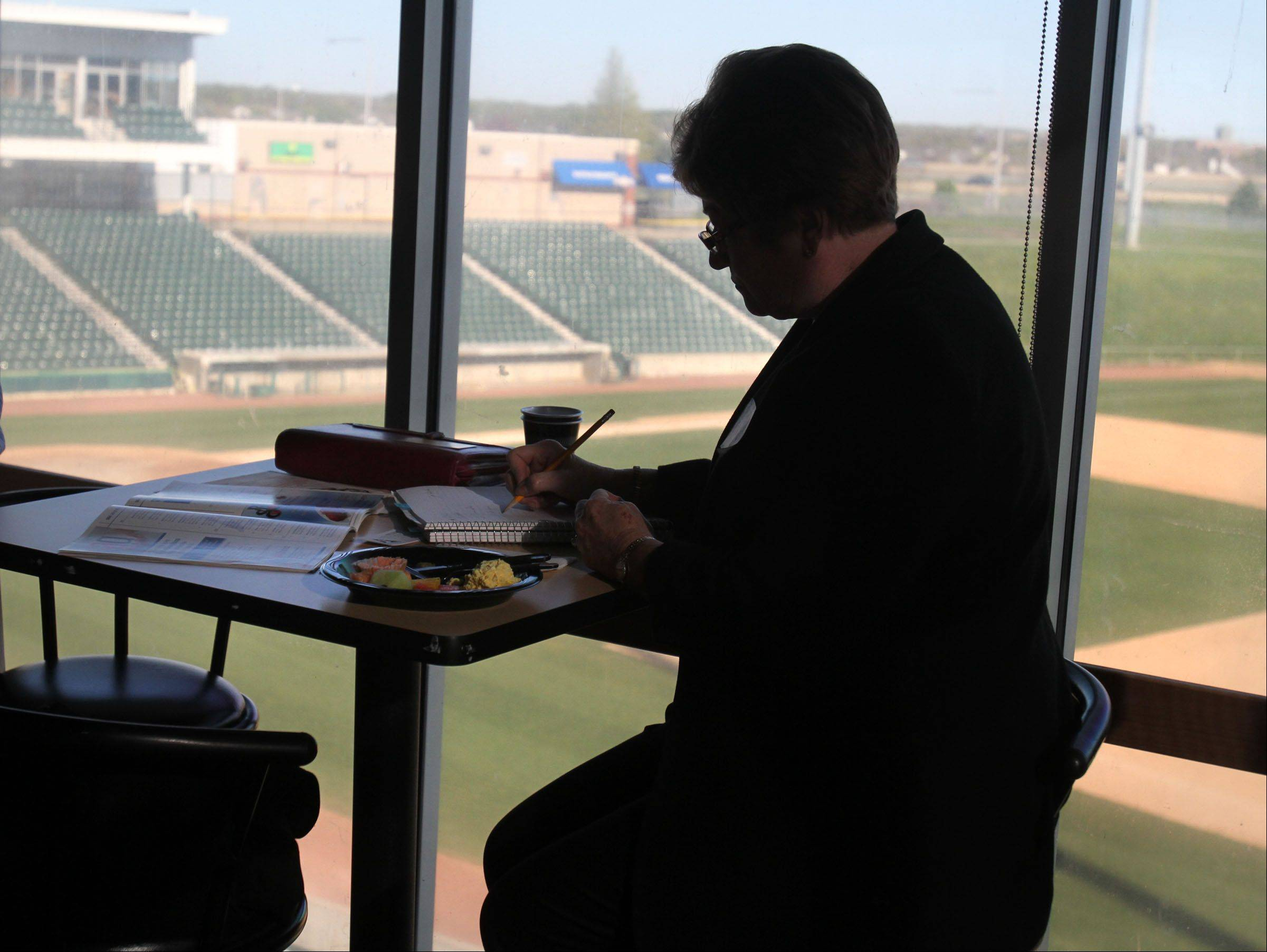 Members of the Schaumburg Business Association Tuesday had breakfast overlooking the field at Schaumburg Boomers Stadium, where team owner Pat Salvi spoke of the club's place in the local business community.