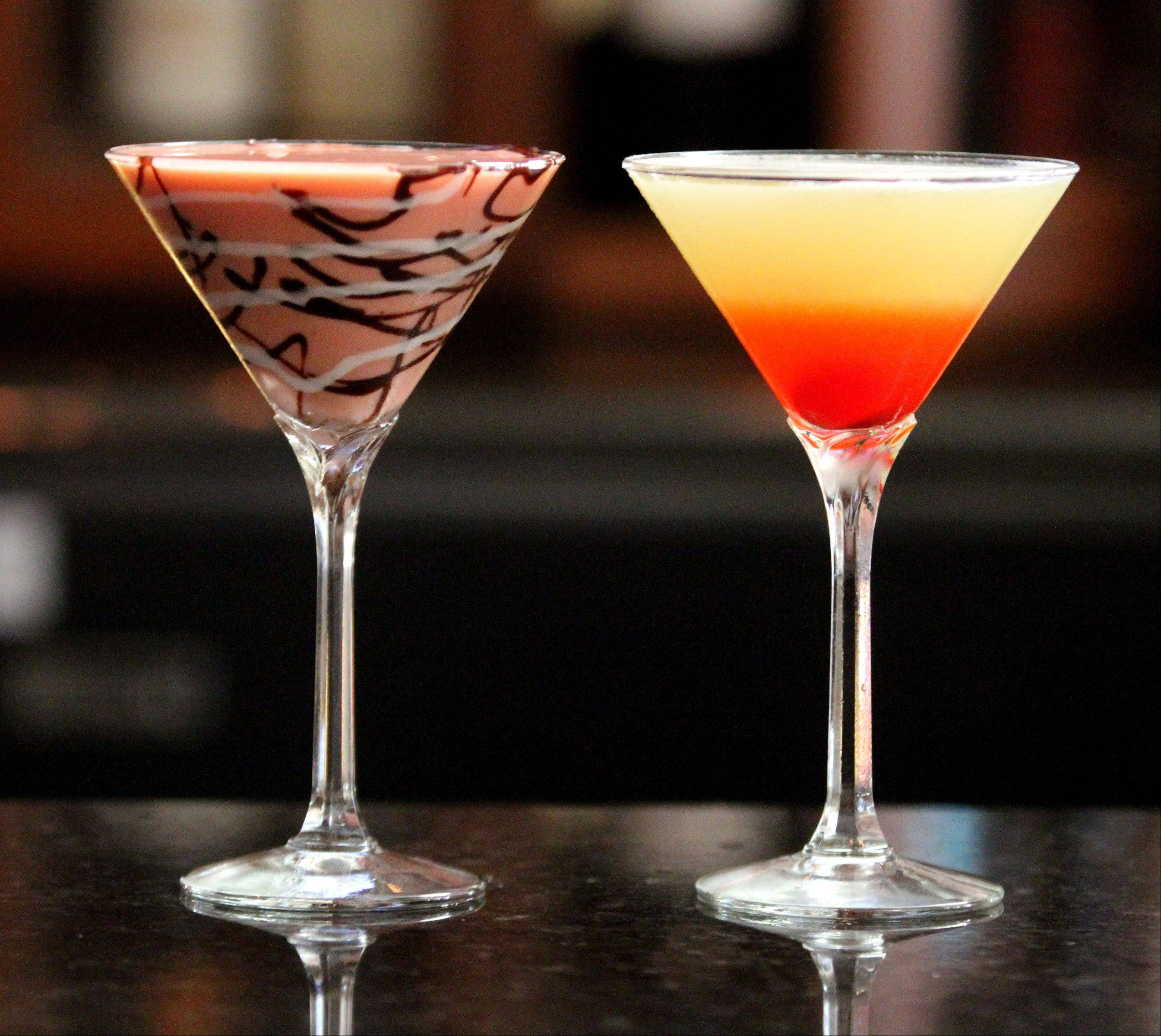 The colorful Pink Moon and Bikini martinis are just two of the cocktail offerings at Strawberry Moon.
