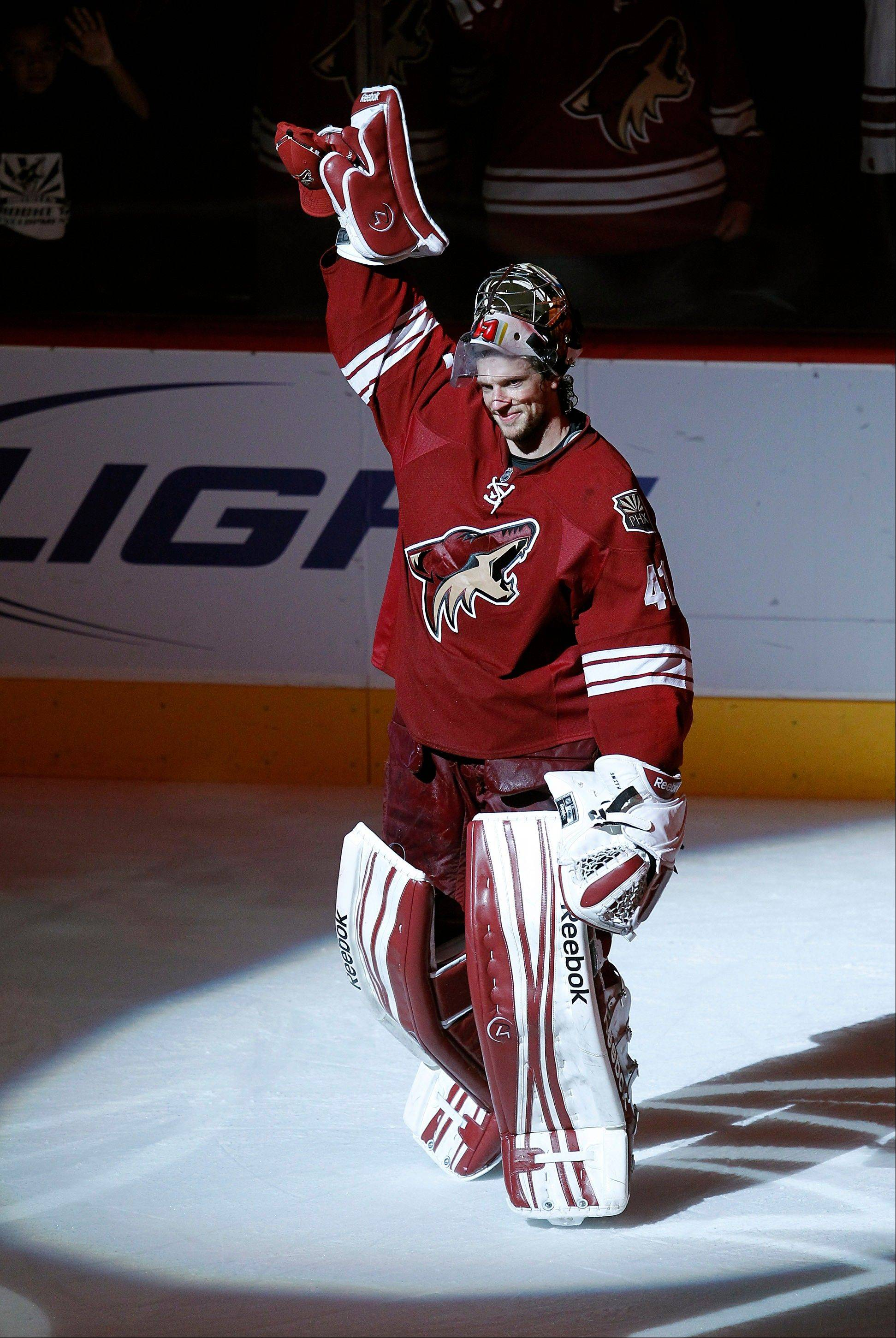 Mike Smith allowed just 2 goals in a five-game winning streak to close the Coyotes' regular season. He compiled a 38-18-10 record and a 2.21 goals-against average with 8 shutouts.