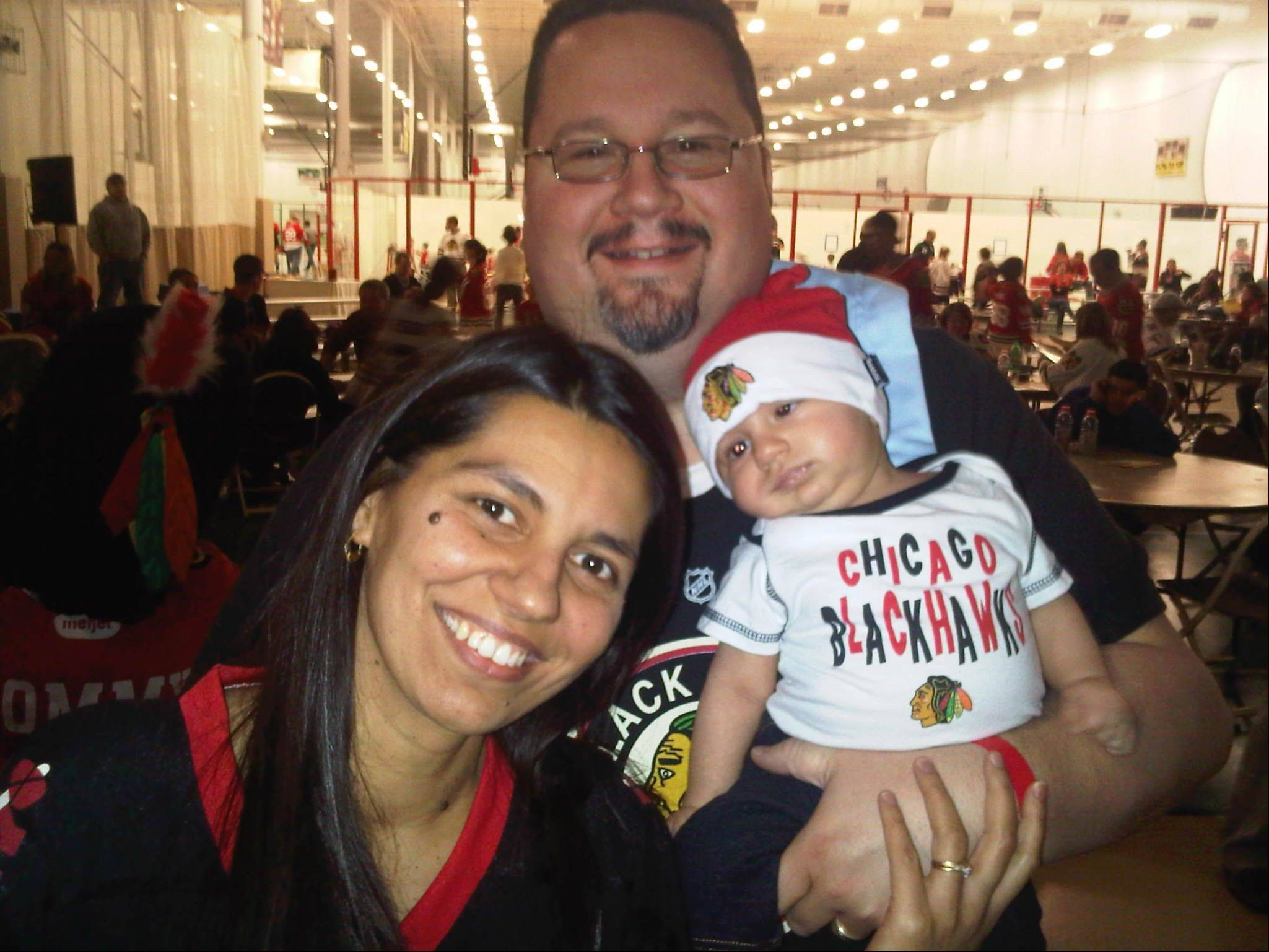 The Blackhawks' Roadwatch Party included Gages Lake residents Melinda and Raymond Clark and their 3-month-old son Edward.