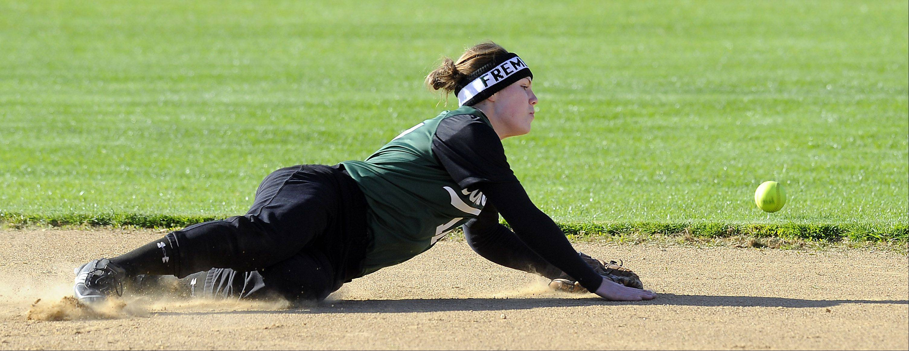 Fremd's Megan Hubbard dives for a single hit by Lake Zurich's Christina Sandstedt during Thursday's softball game at Fremd High School.