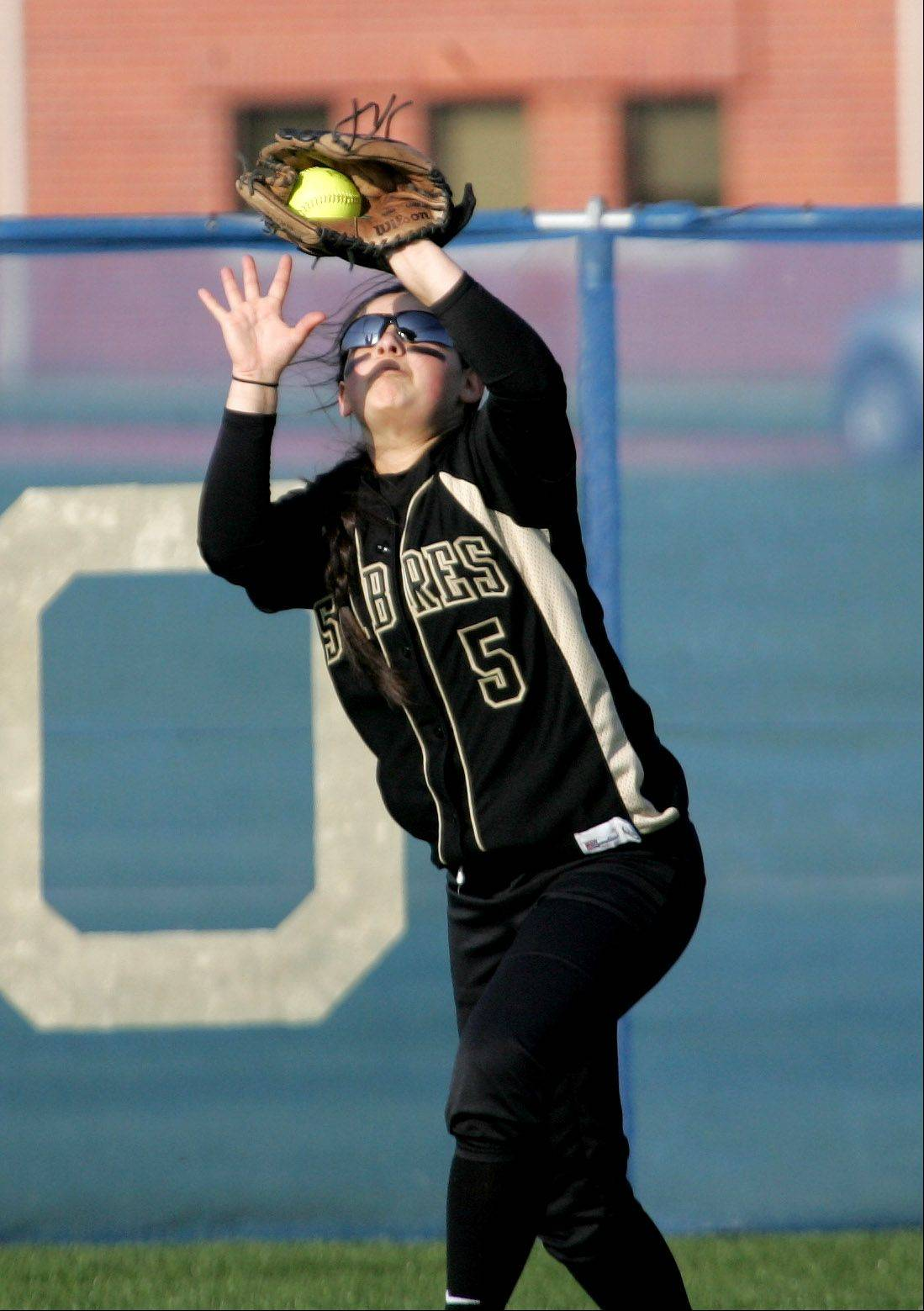 Andrea Barajas of Streamwood makes a catch in the outfield against Neuqua Valley Monday in Naperville.