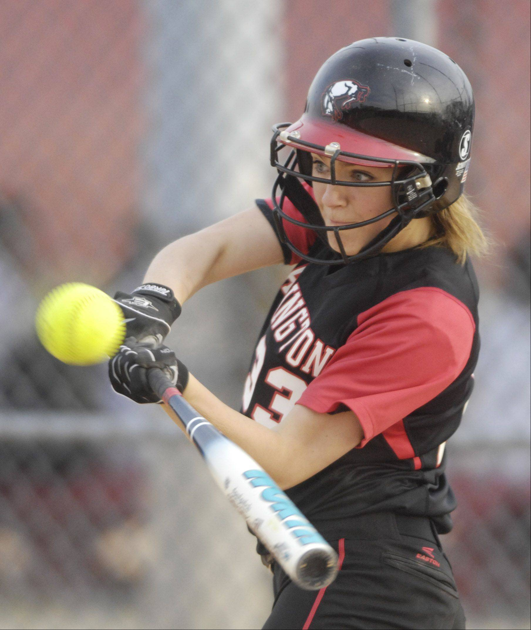 Barrington's Kelsey Kazmier makes contact during Tuesday's game against Burlington Central.