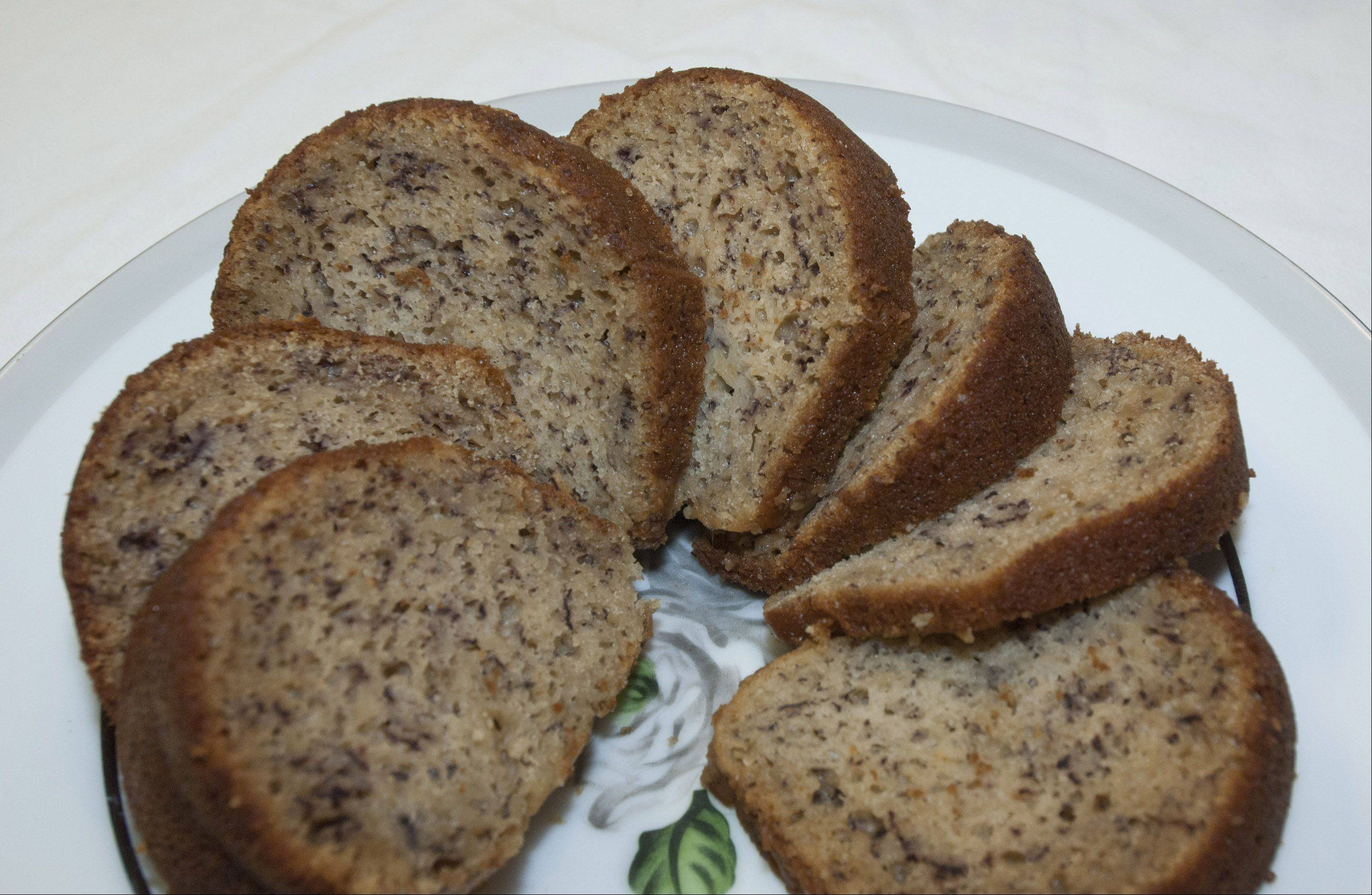 Banana bundt cake uses whole wheat flour, proving the more healthful flour isn't just for bread anymore.