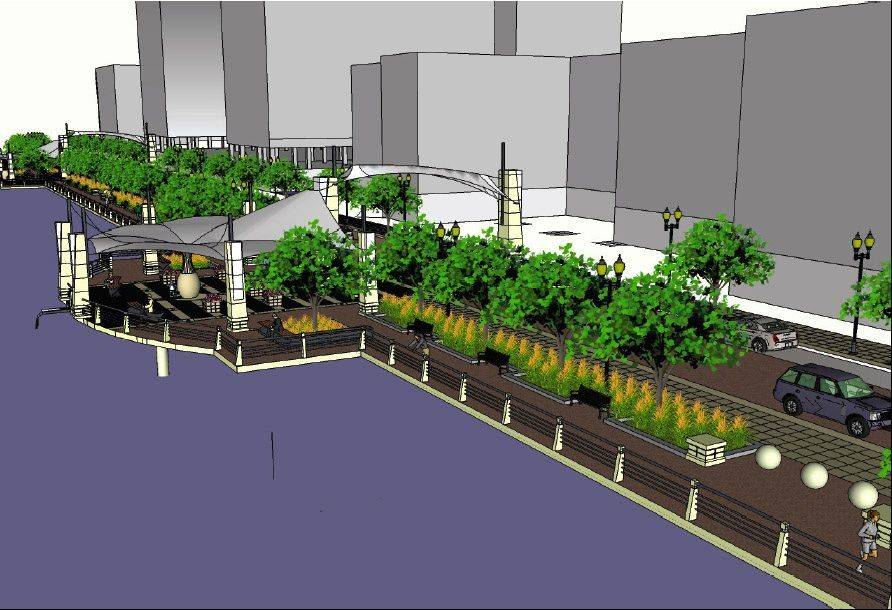 A rendering of the design for the Riverside Drive Promenade shows the view looking north on the east side of the Fox River in Elgin. The project is set to start June 15 and be completed by June 2013. The $10.5 million project is funded largely with state money.
