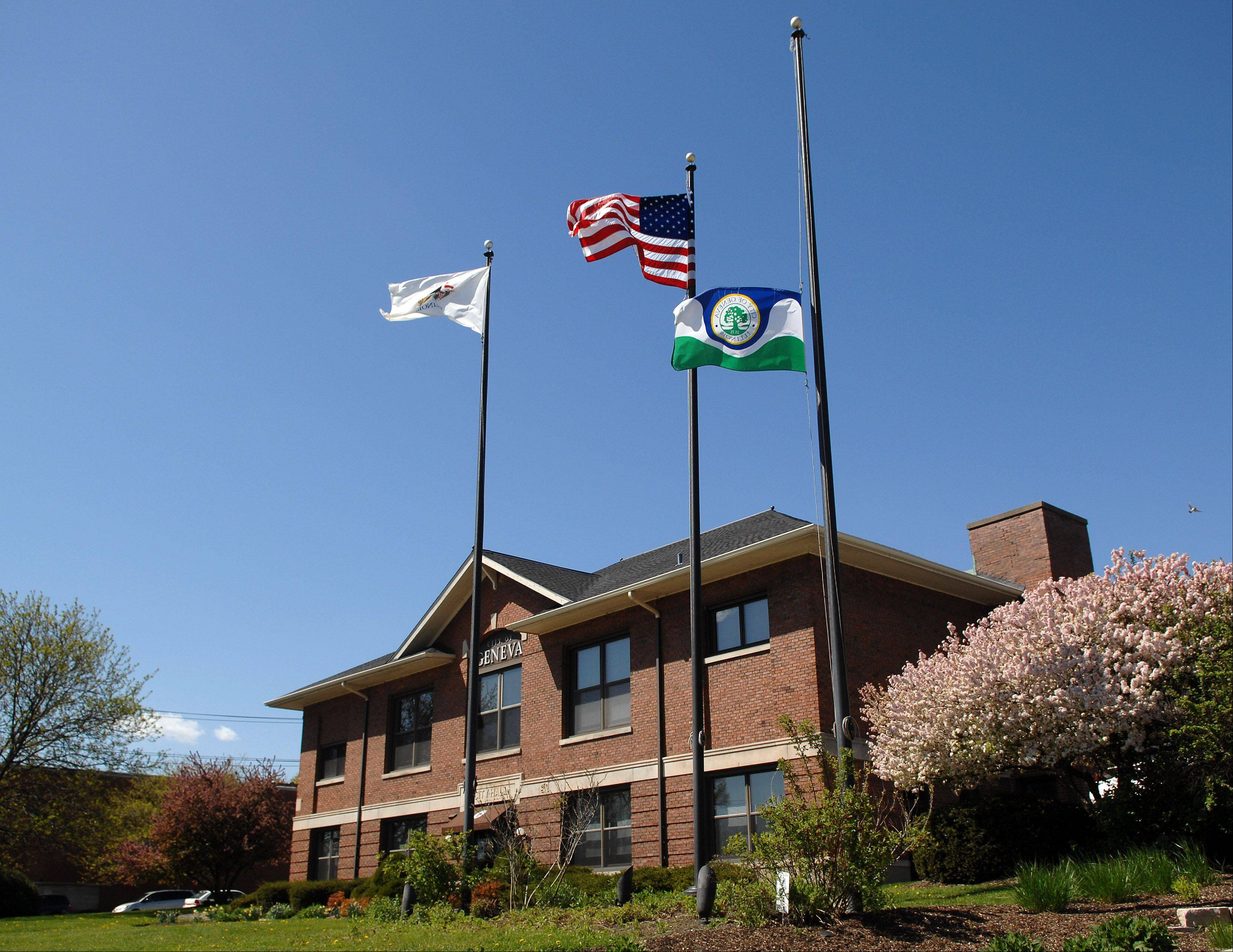 The city of Geneva flag flies at half-staff at city hall this week in honor of Mary Bencini, who died Saturday. Bencini was a 30-year teacher in town and very active in retirement with the city, schools and cultural arts. The flag was also at half-staff to honor the late alderman John VanThournout, who died April 6.