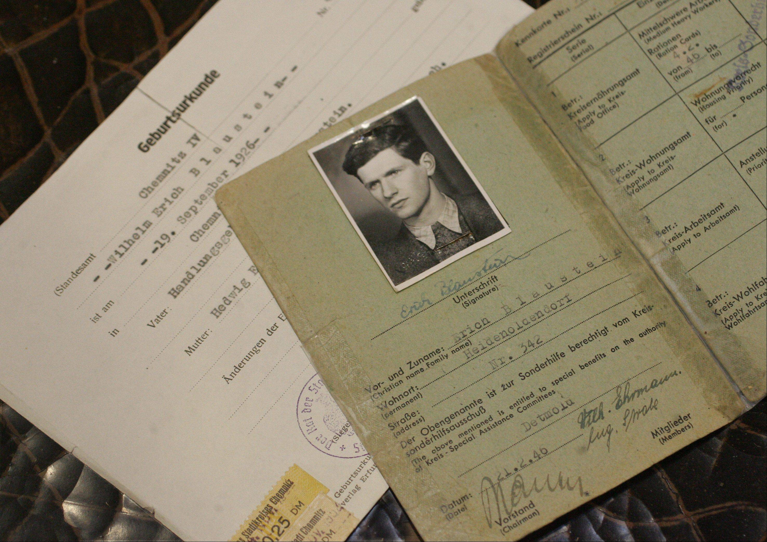 The birth certificate and German identification papers of Holocaust survivor Eric Blaustein, of Vernon Hills. He was arrested at 17 by the Nazis and spent time in Buchenwald prison camp during World War II. Blaustein will speak Wednesday at Harper College about his ordeal.
