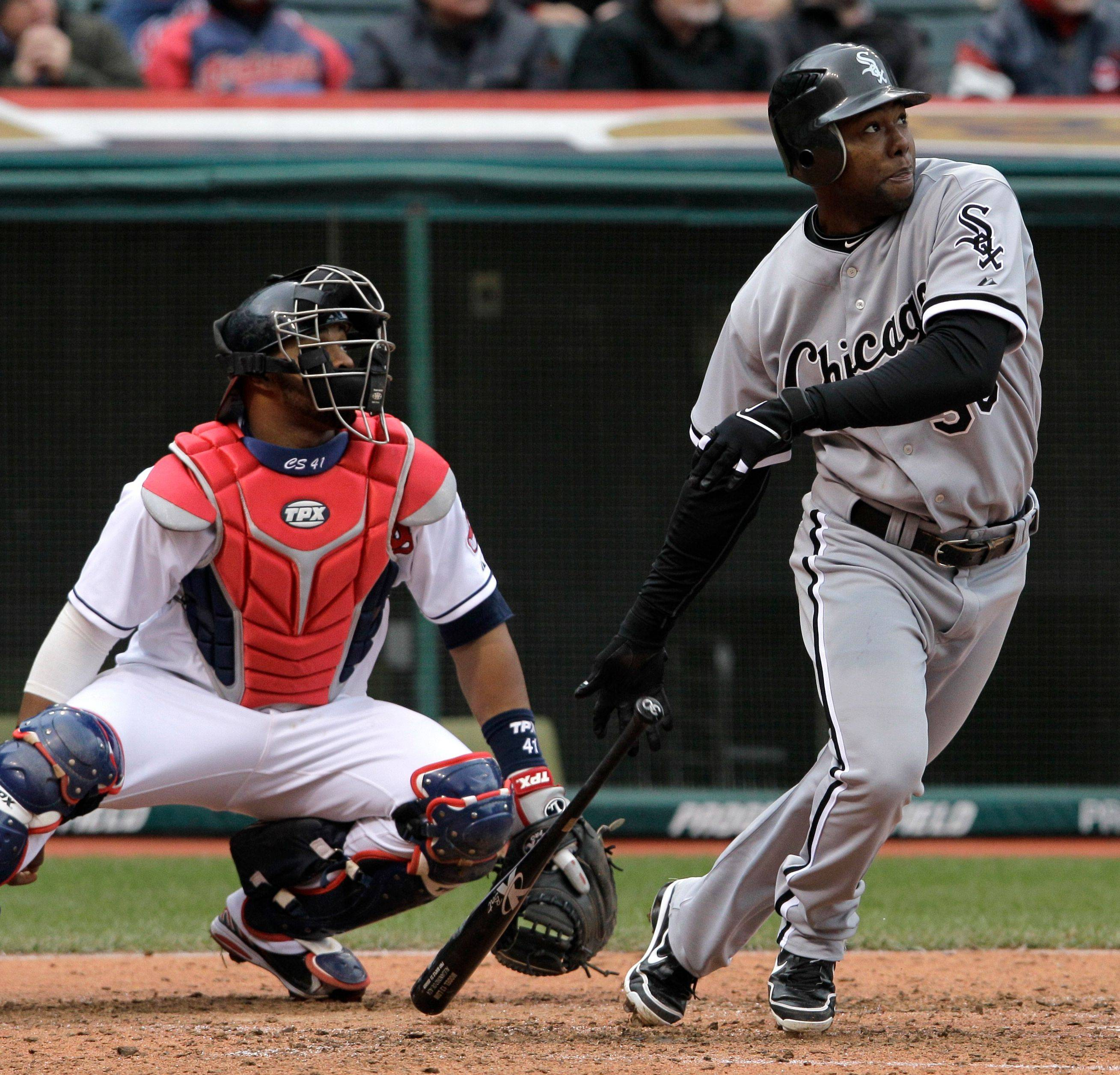 Alejandro De Aza watches the flight of his 2-run home run in the sixth inning off Indians relief pitcher Dan Wheeler during the White Sox' victory Wednesday in Cleveland.