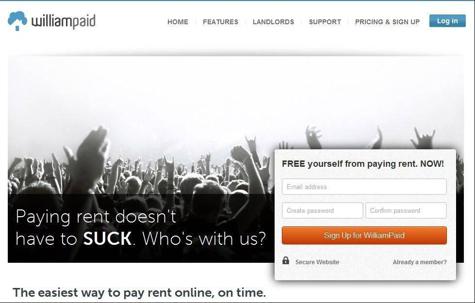 Screen shot of Williampaid.com.
