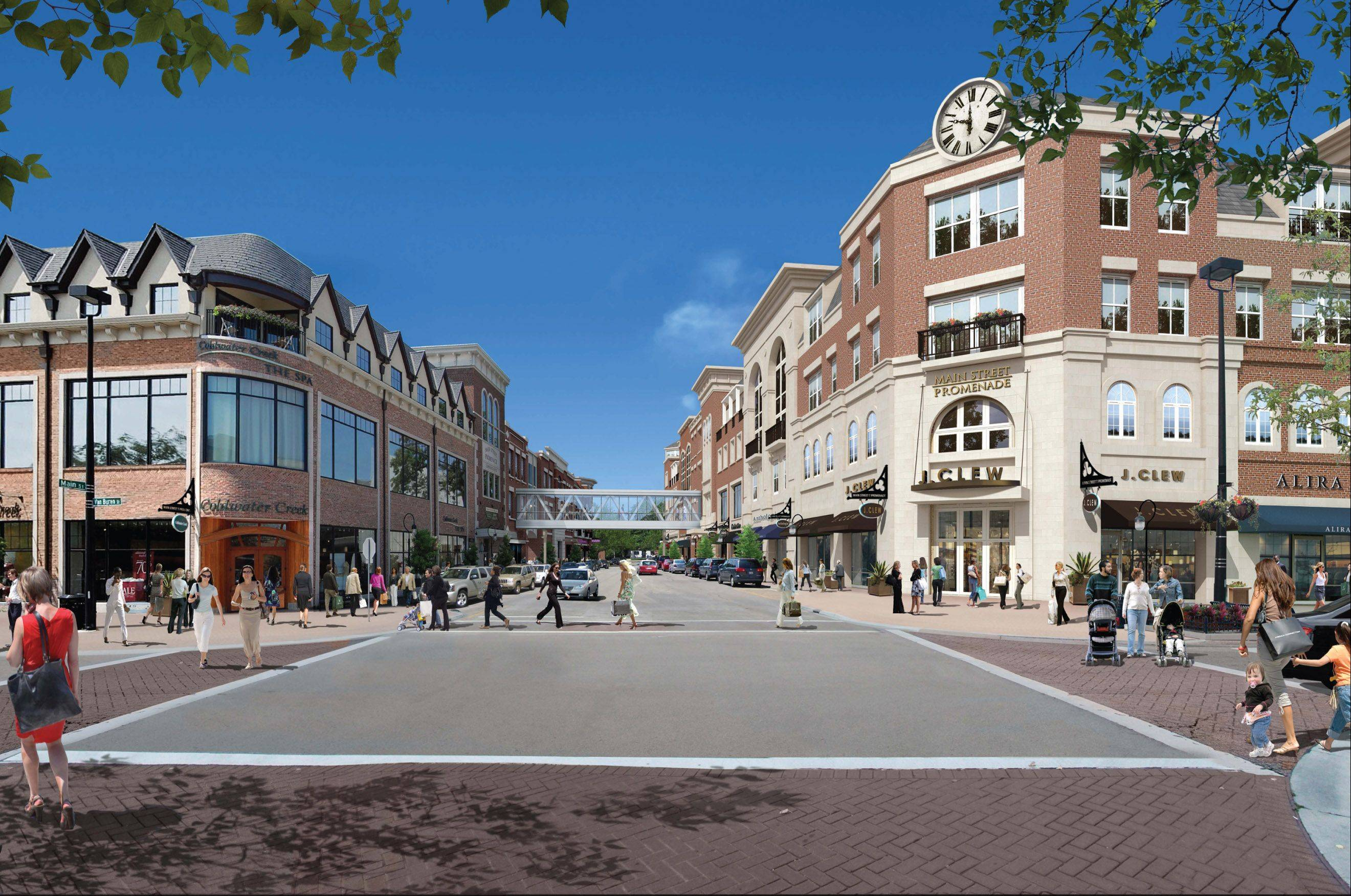 Developers eventually hope to connect the new Main Street Promenade East development in downtown Naperville to the original Promenade on the west side of Main Street, via a pedestrian bridge.