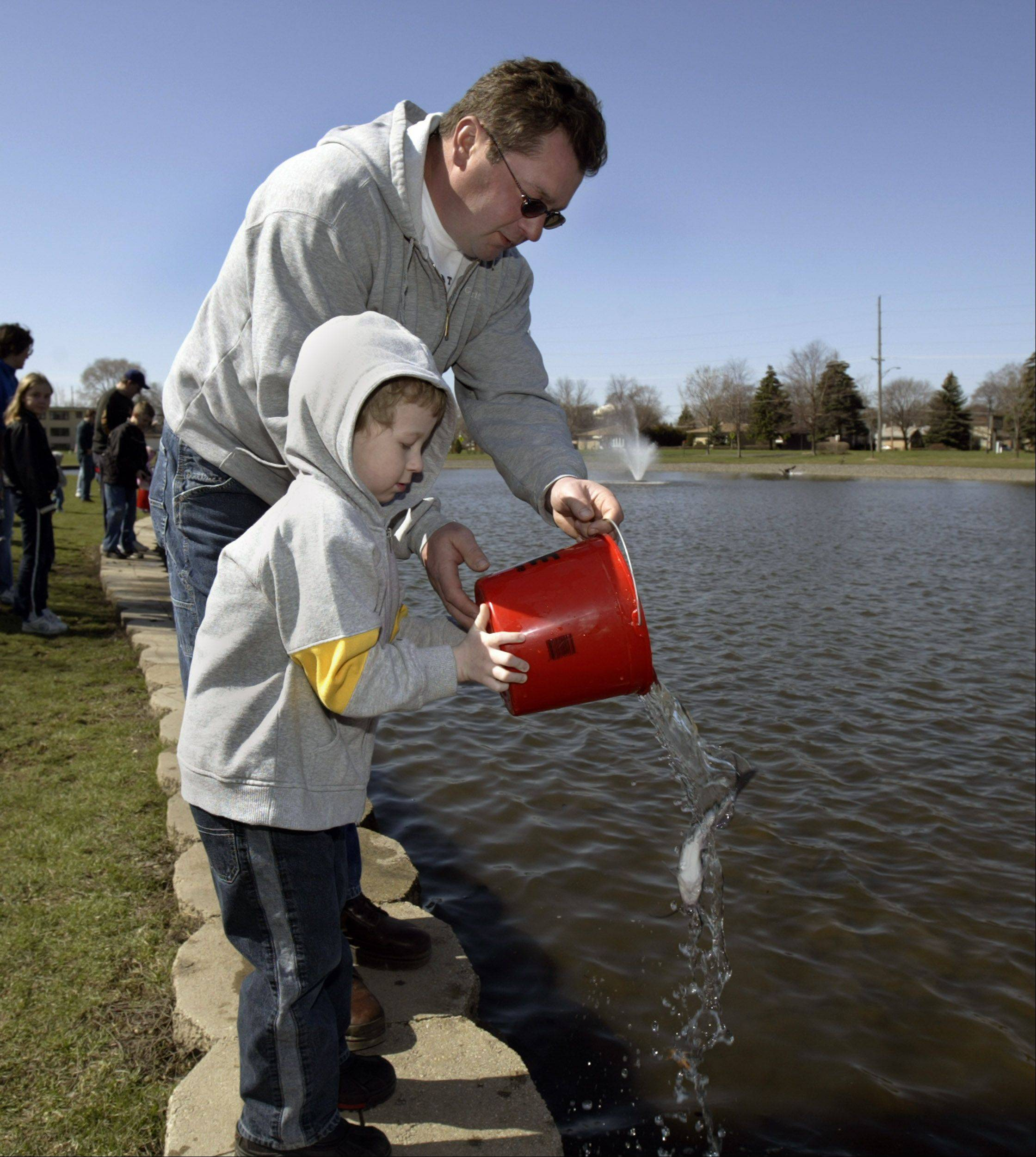 Families can help release minnows, catfish and more into Turner Pond in Roselle or Lakeview Pond in Bloomingdale as part of the annual fish stocking by the Roselle-Bloomingdale Rotary Club. The event also collects food donations for the Bloomingdale Township food pantry.