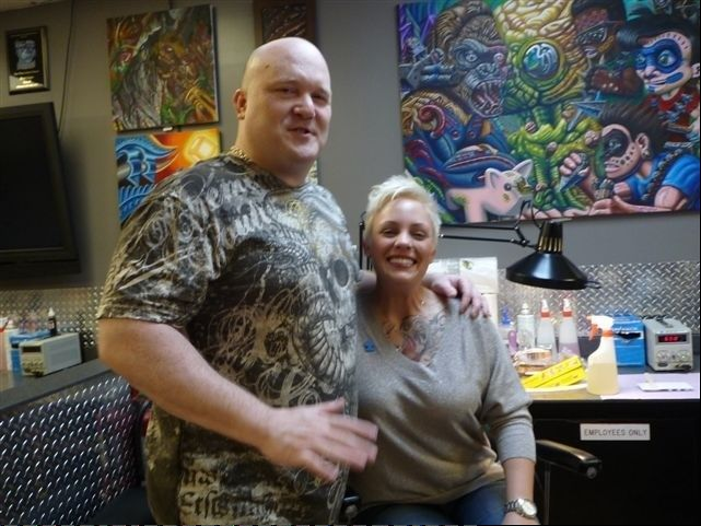 Sara Allgire not only got an autism tattoo at Rising Phoenix Tattoo in Addison, she met her husband, Jaime Ozman.
