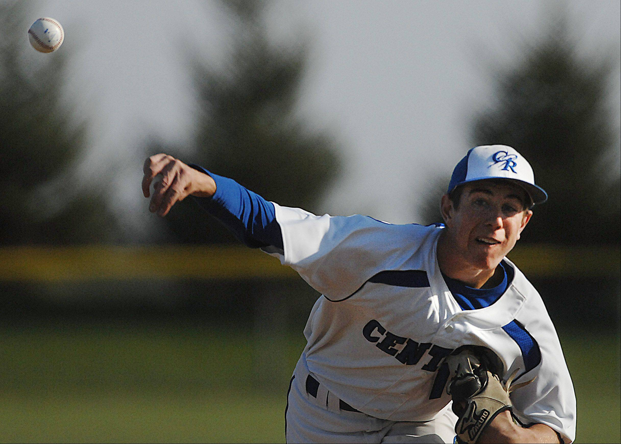 Burlington Central starting pitcher Riley Jensen struck out 11 Marengo batters Thursday in Burlington.